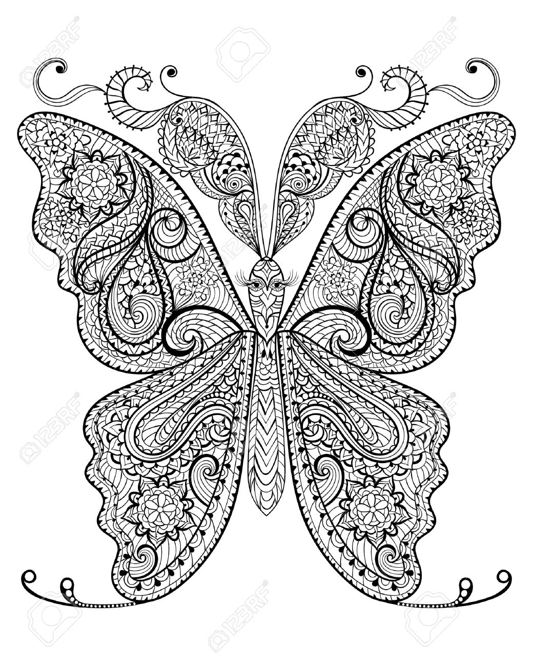 Stress free coloring images - Hand Drawn Magic Butterfly For Adult Anti Stress Coloring Page With High Details Isolated On White