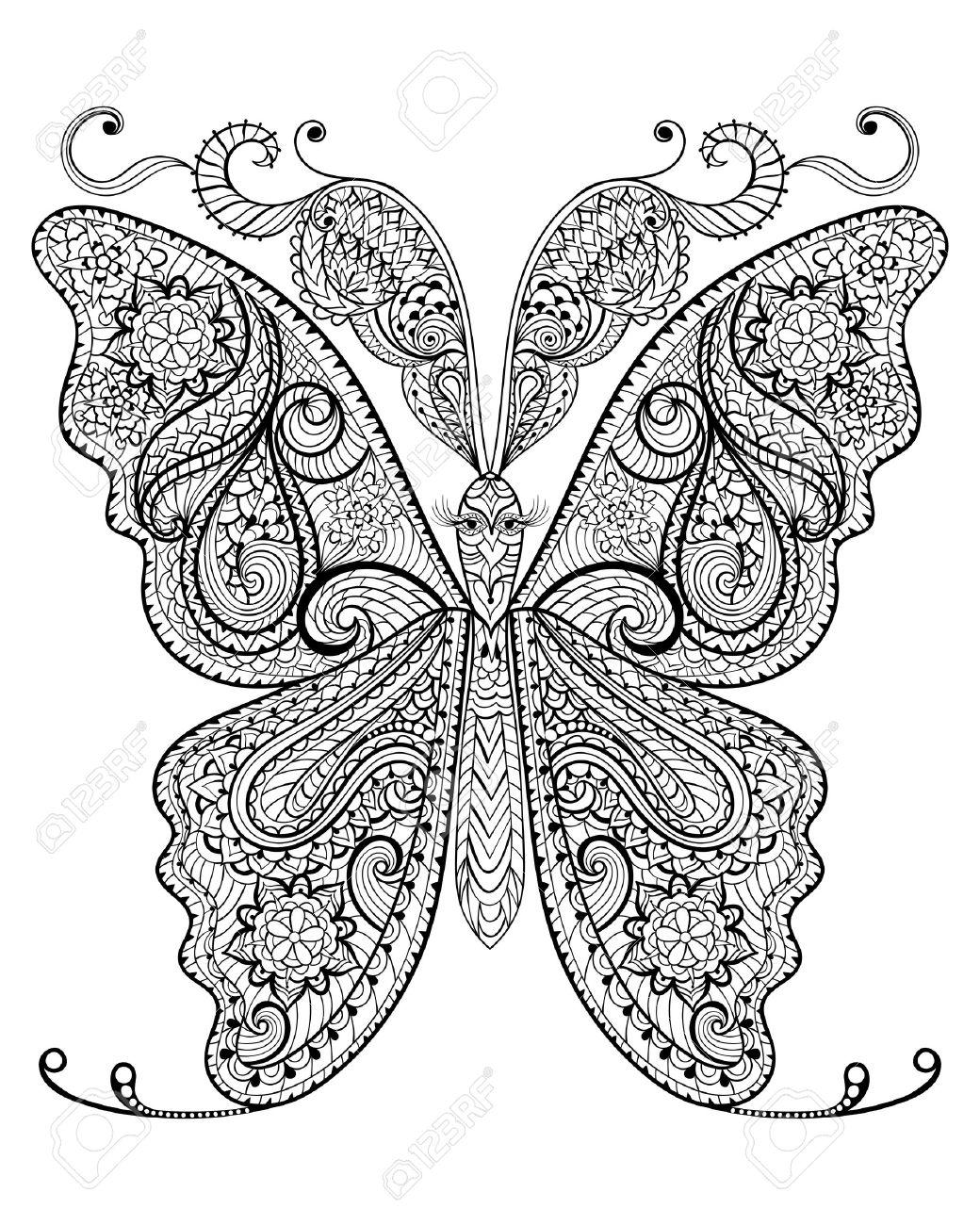 Hand Drawn Papillon Magique Pour Anti Stress Adulte Coloriage Avec Des Details Eleves Isole Sur Fond Blanc Illustration Dans Le Style Zentangle Vector Monochrome Croquis Collection Nature Clip Art Libres De Droits
