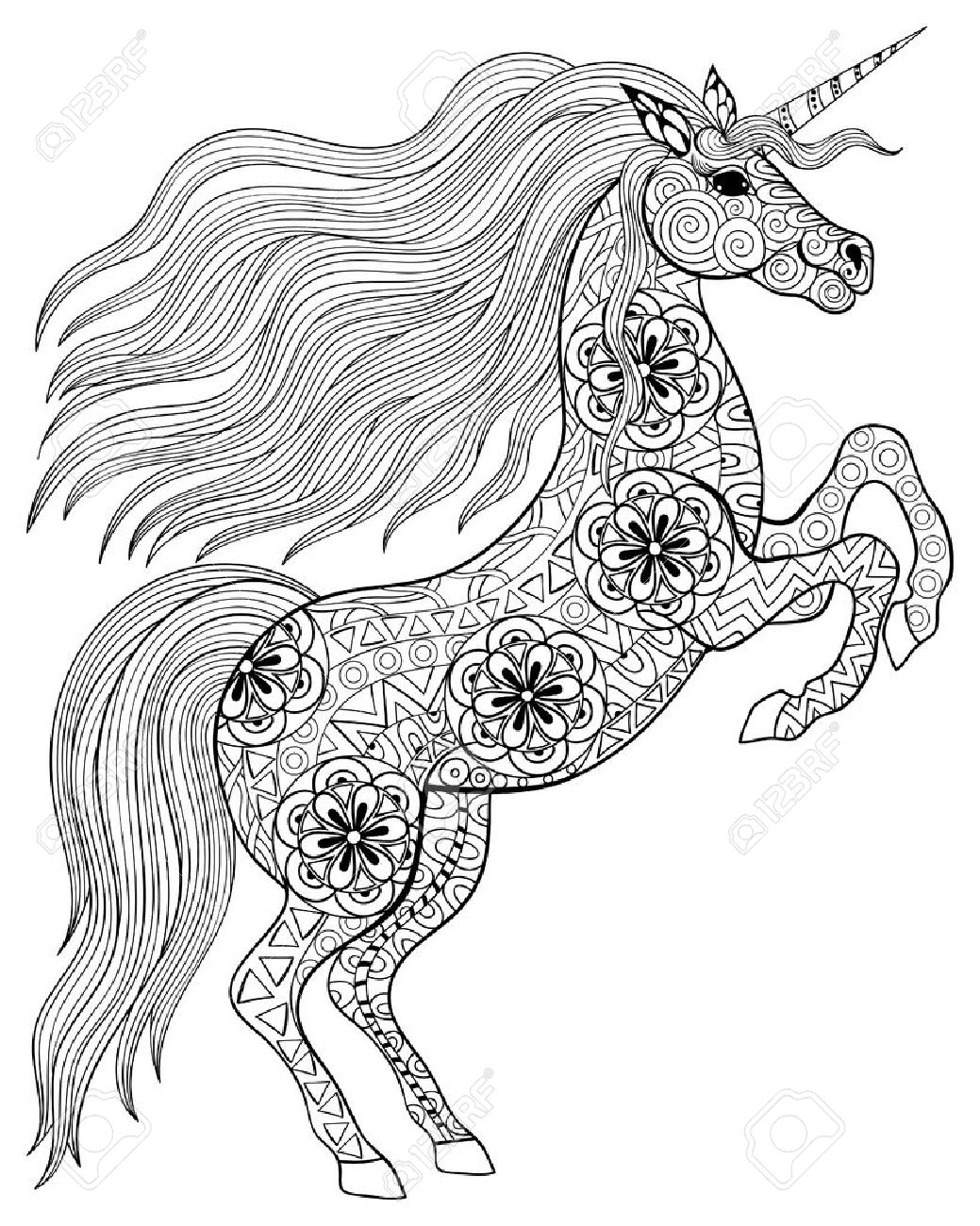 Hand drawn magic unicorn for adult anti stress coloring page with high details isolated on white