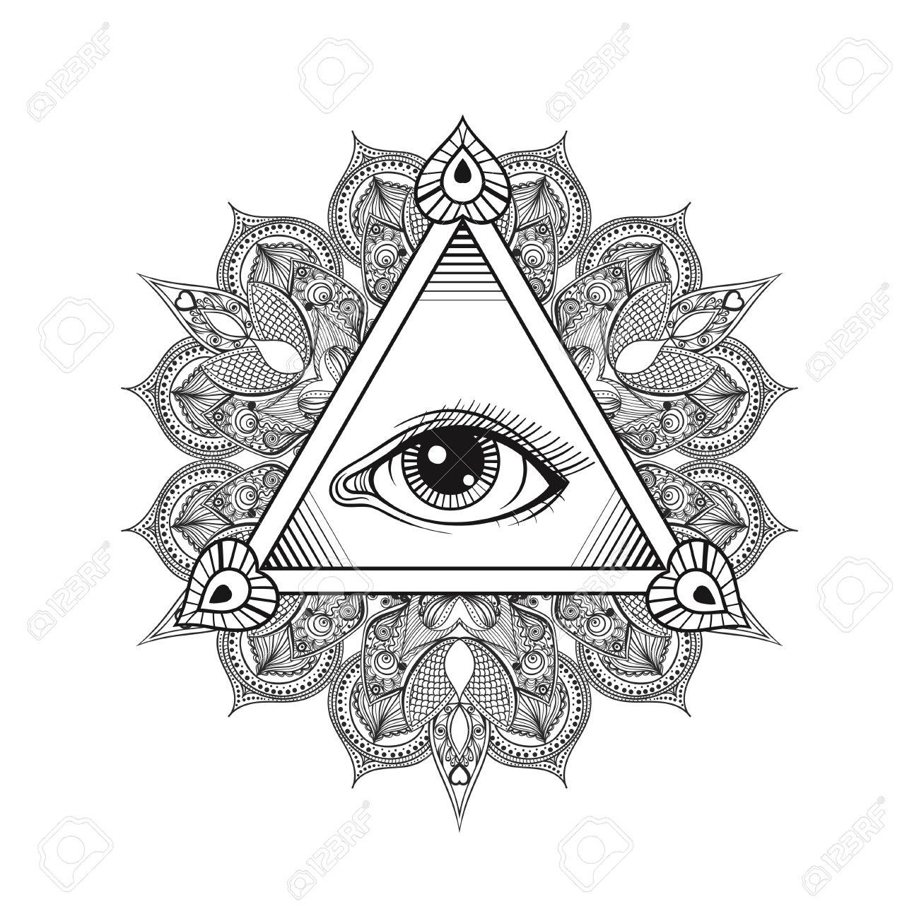 Vector All Seeing Eye Pyramid Symbol Tattoo Design Vintage