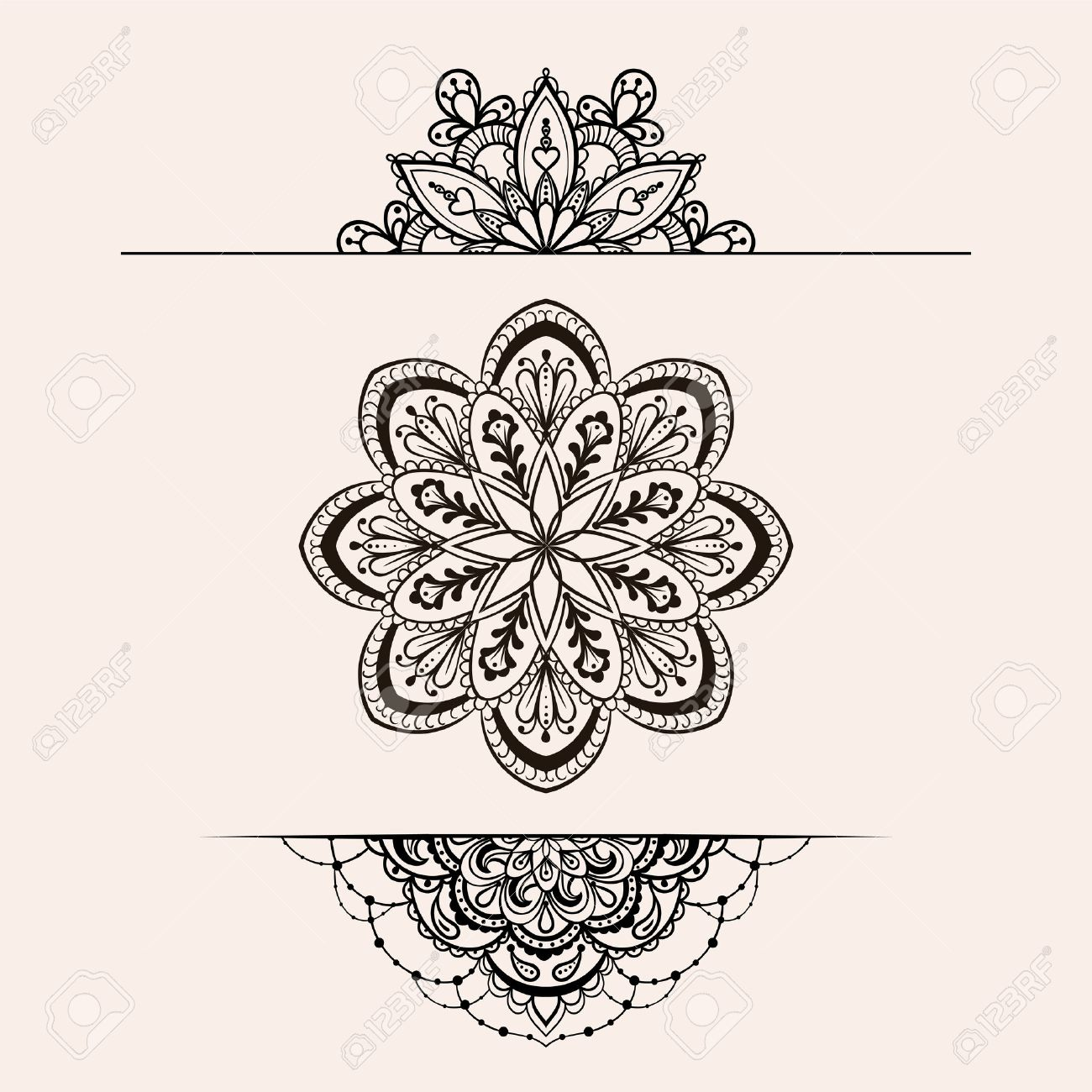 f70dc4352 Vector - Vector henna ethnic mandala set, makhenda boho lace tattoo design  in doodle style. Ornamental tribal patterned illustration for coloring page.