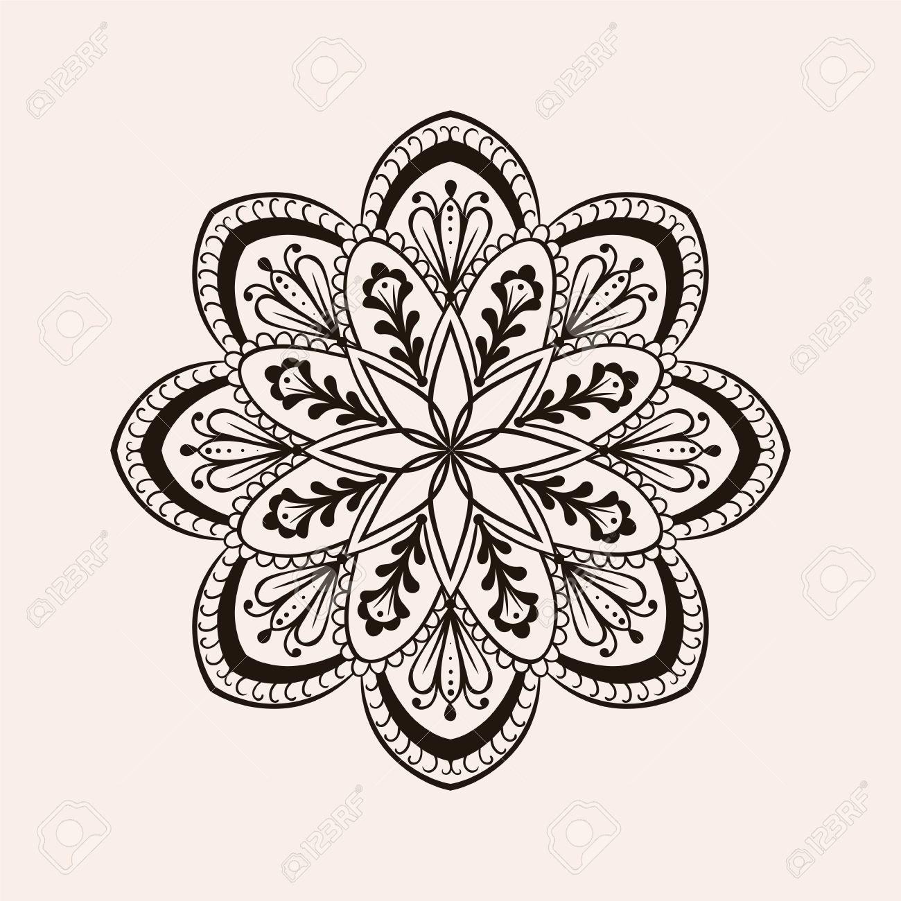 Henna Mandala Del Vector étnica Diseño Del Tatuaje Boho En El Estilo De Dibujo Ornamental Ilustración Con Dibujos Tribales Para Las Páginas Para