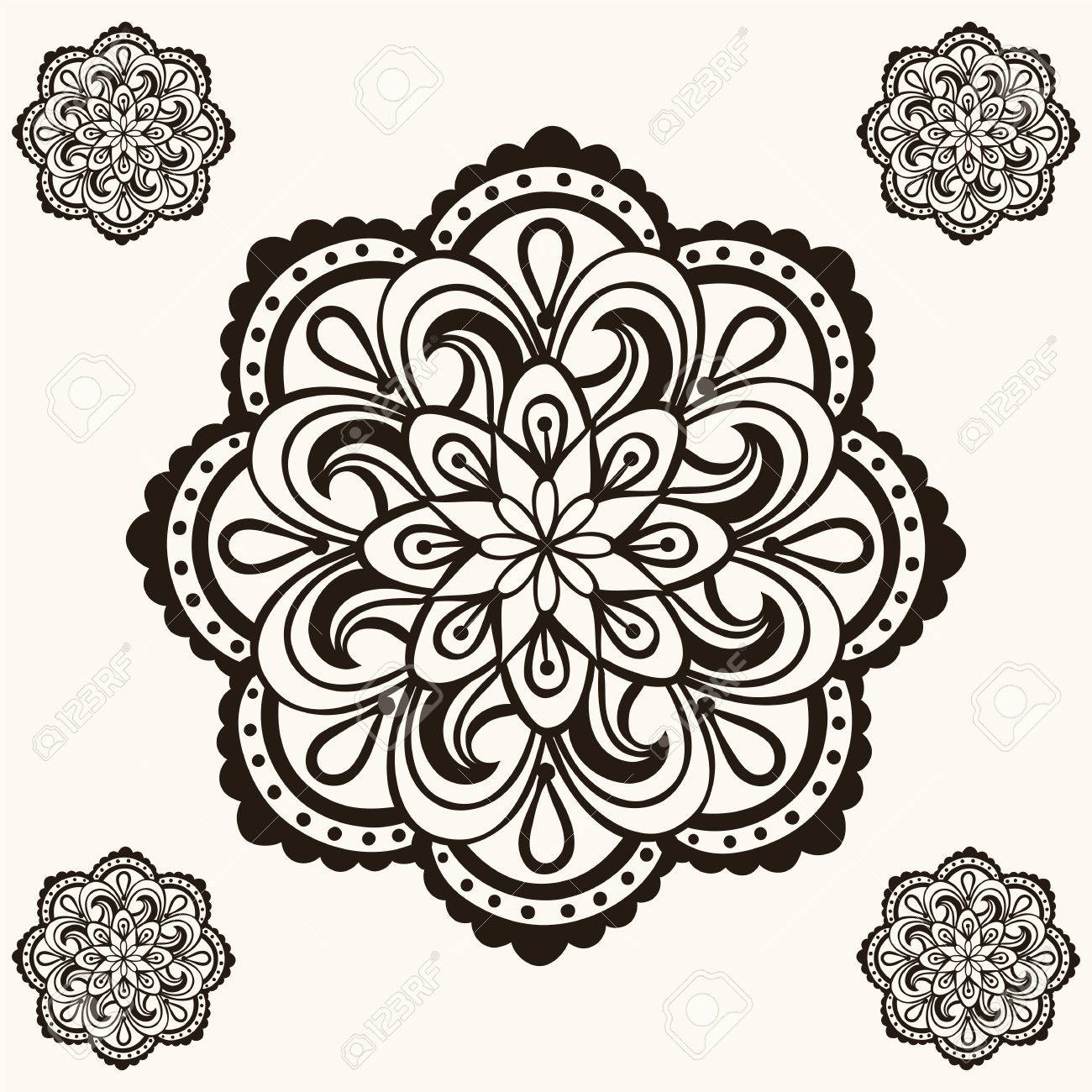 Mandalas Henna Vector Diseo Del Tatuaje Boho En El Estilo De
