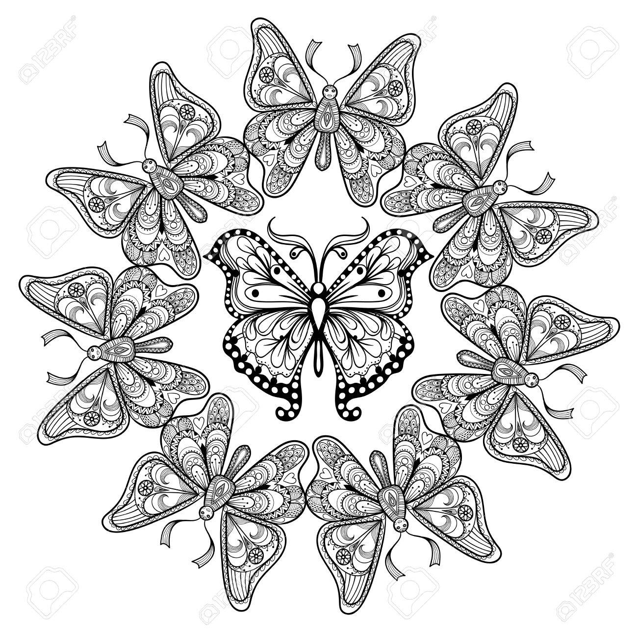 e4ca553ce ... Butterflies for adult anti stress coloring pages in doodle style.  Ornamental tribal patterned illustration for tattoos, posters or prints  decoration.