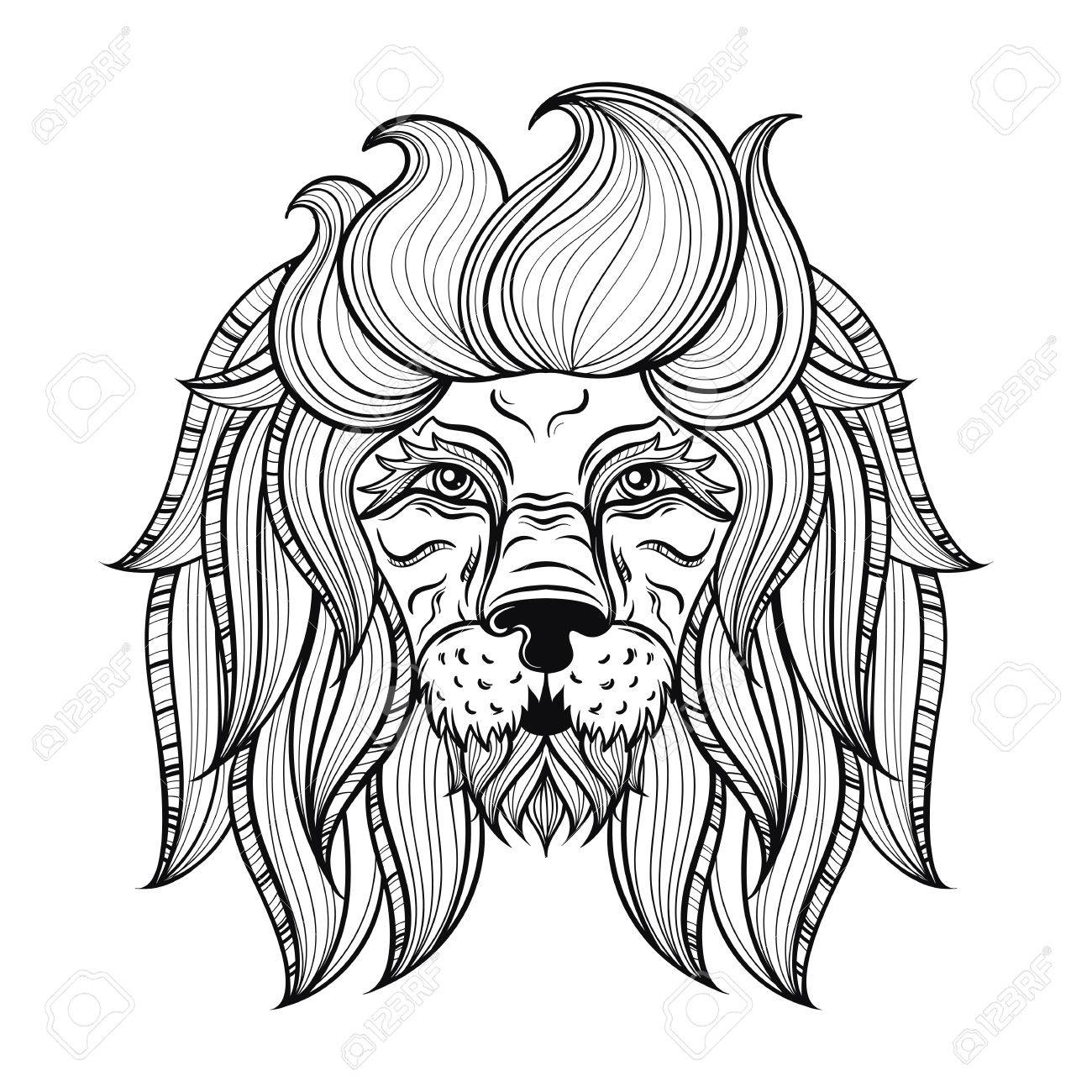 Vector Ornamental Lion Ethnic Patterned Head Hand Drawn Bohemian Tattoo Design In Doodle Style