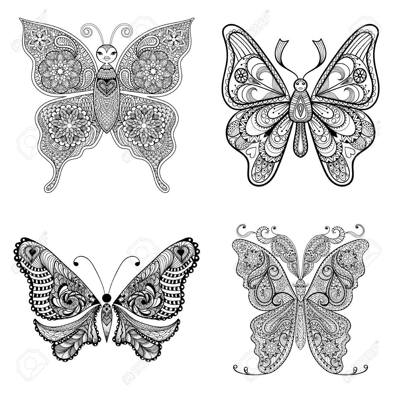 Zentangle Vector Mariposas Negras Fijados Para Colorear Páginas De ...