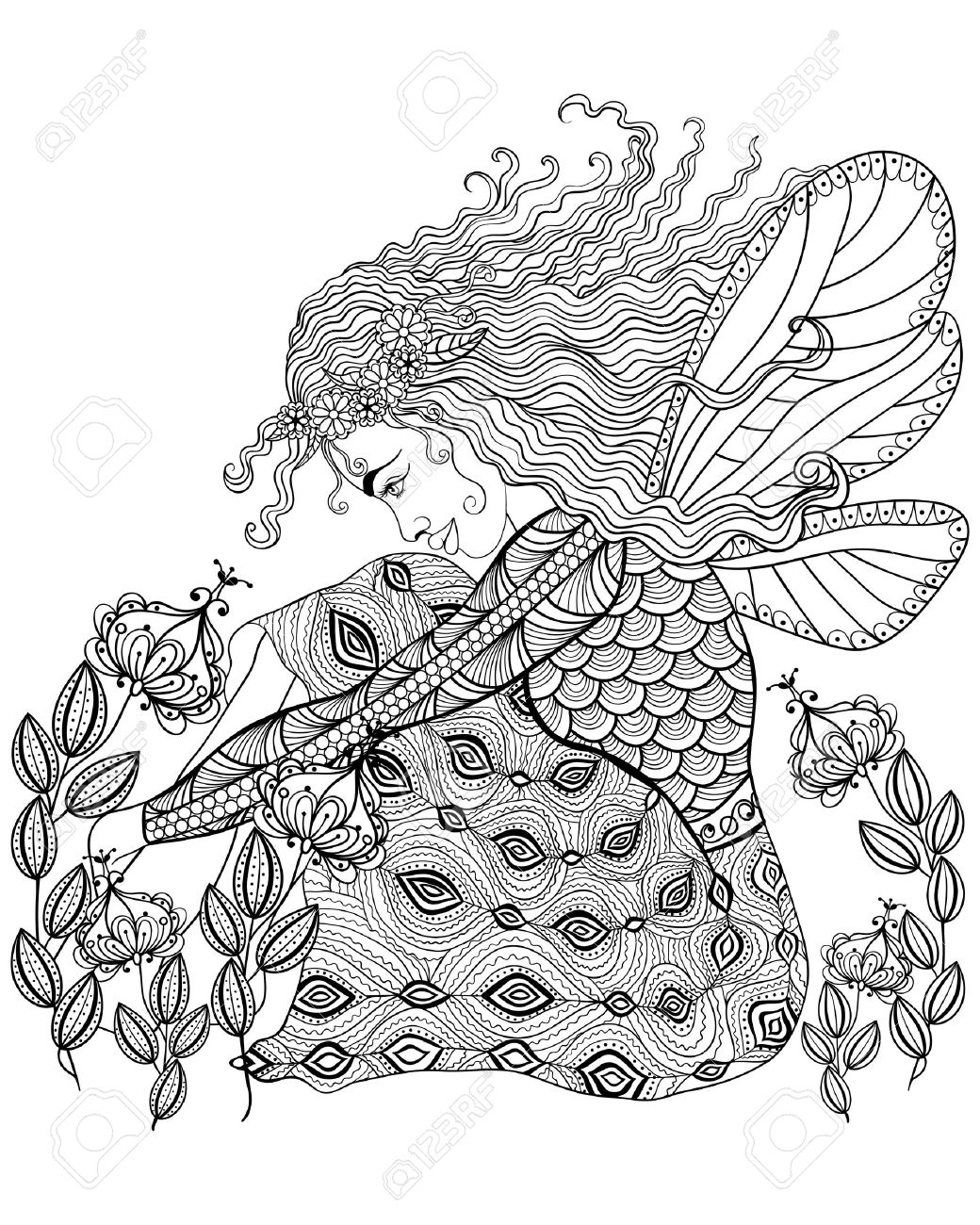 Forest Fairy With Wings In Flower For Adult Anti Stress Coloring ...