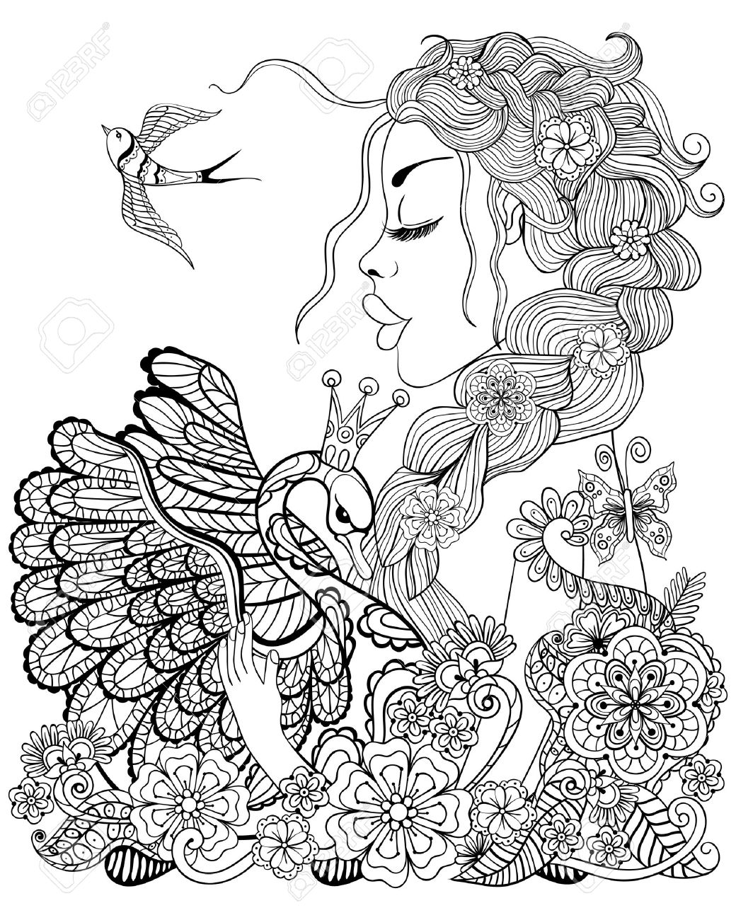 forest fairy with wreath on head hugging swan in flower for