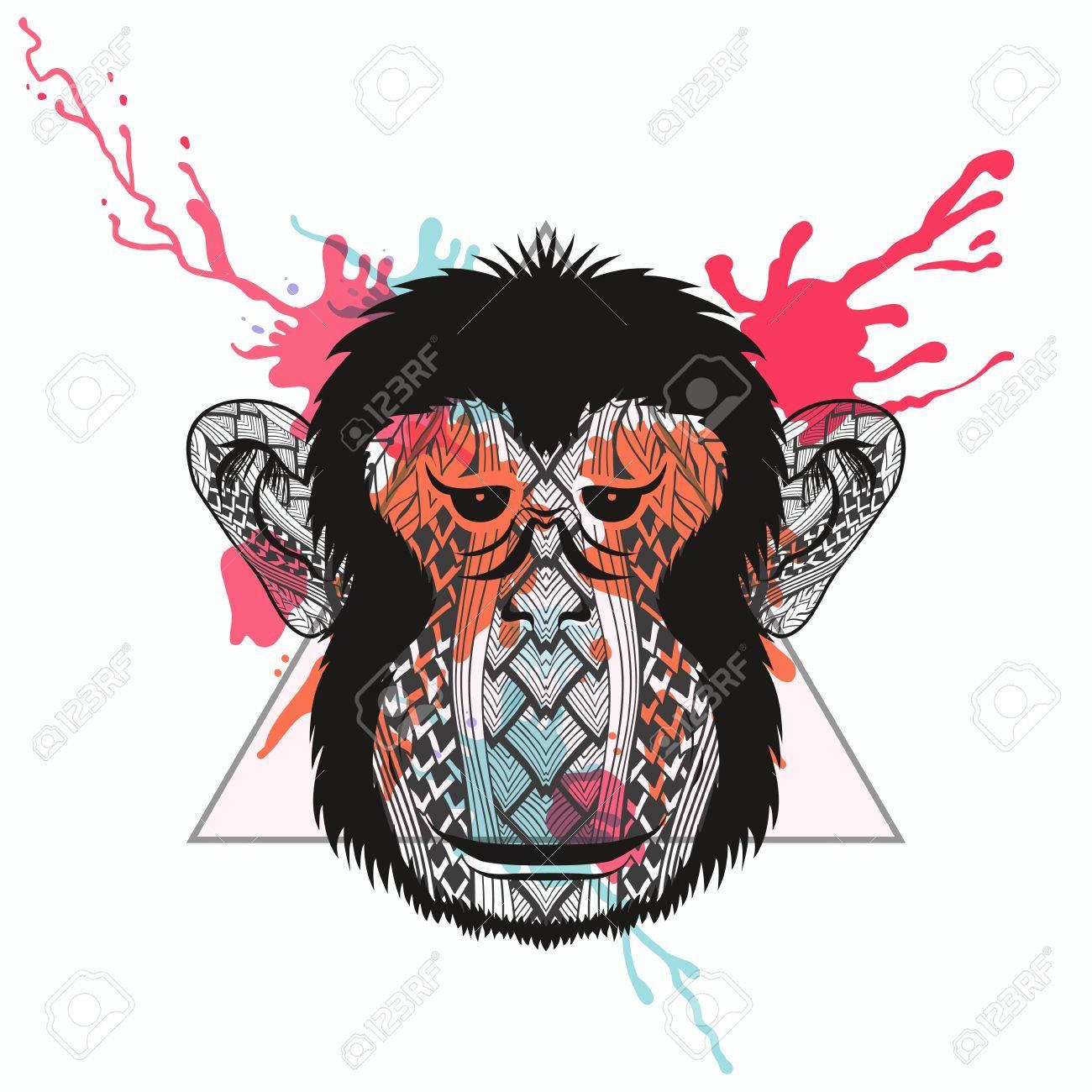 Monkey La Cara Estilizada De Zentangle En El Marco De Triángulo Con ...