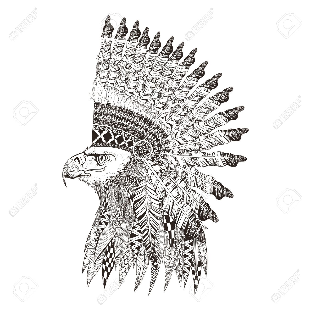 Zentangle Stylized Head Of Eagle In Feathered War Bannet Hand