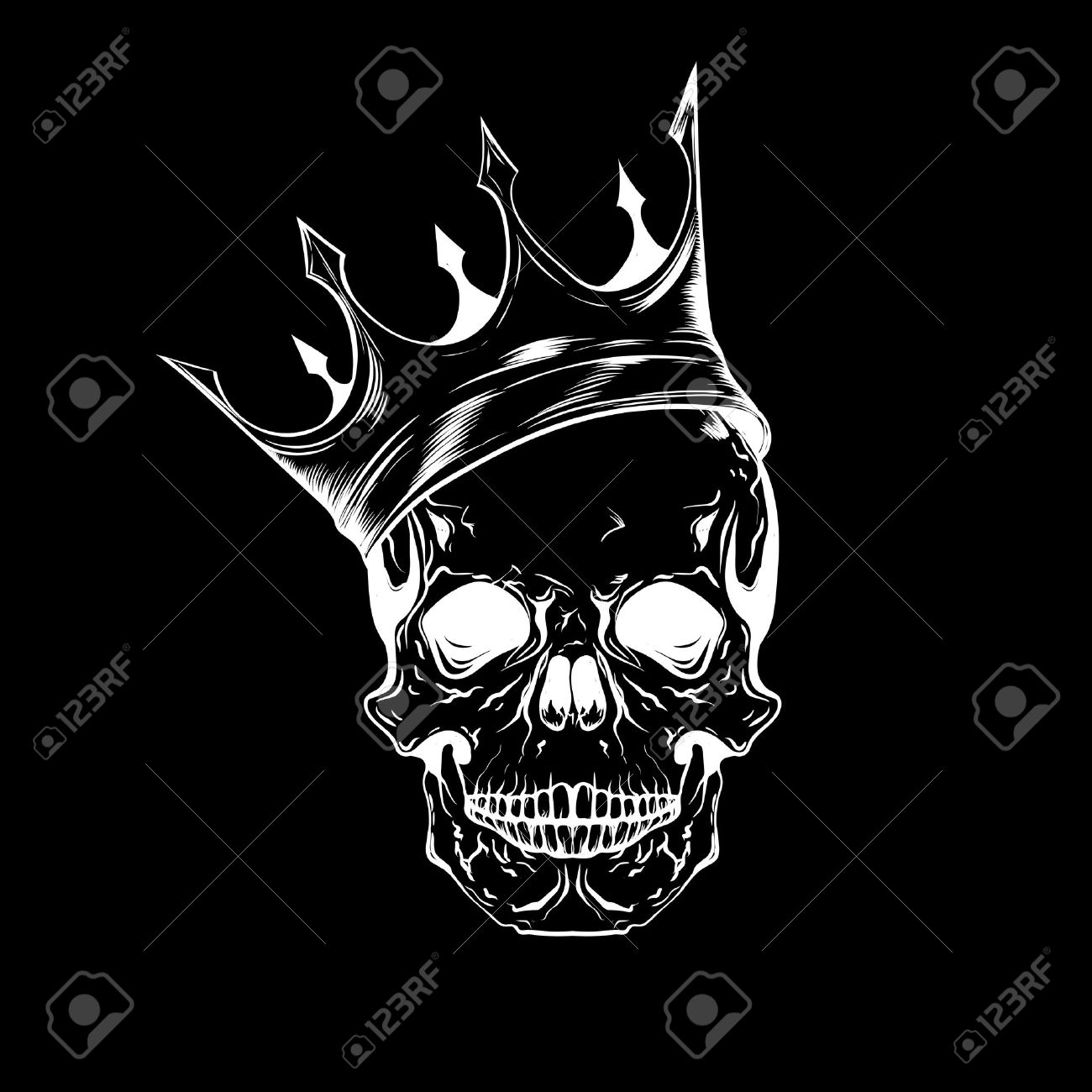 hand drawn sketch scull with crown tattoo line art vintage