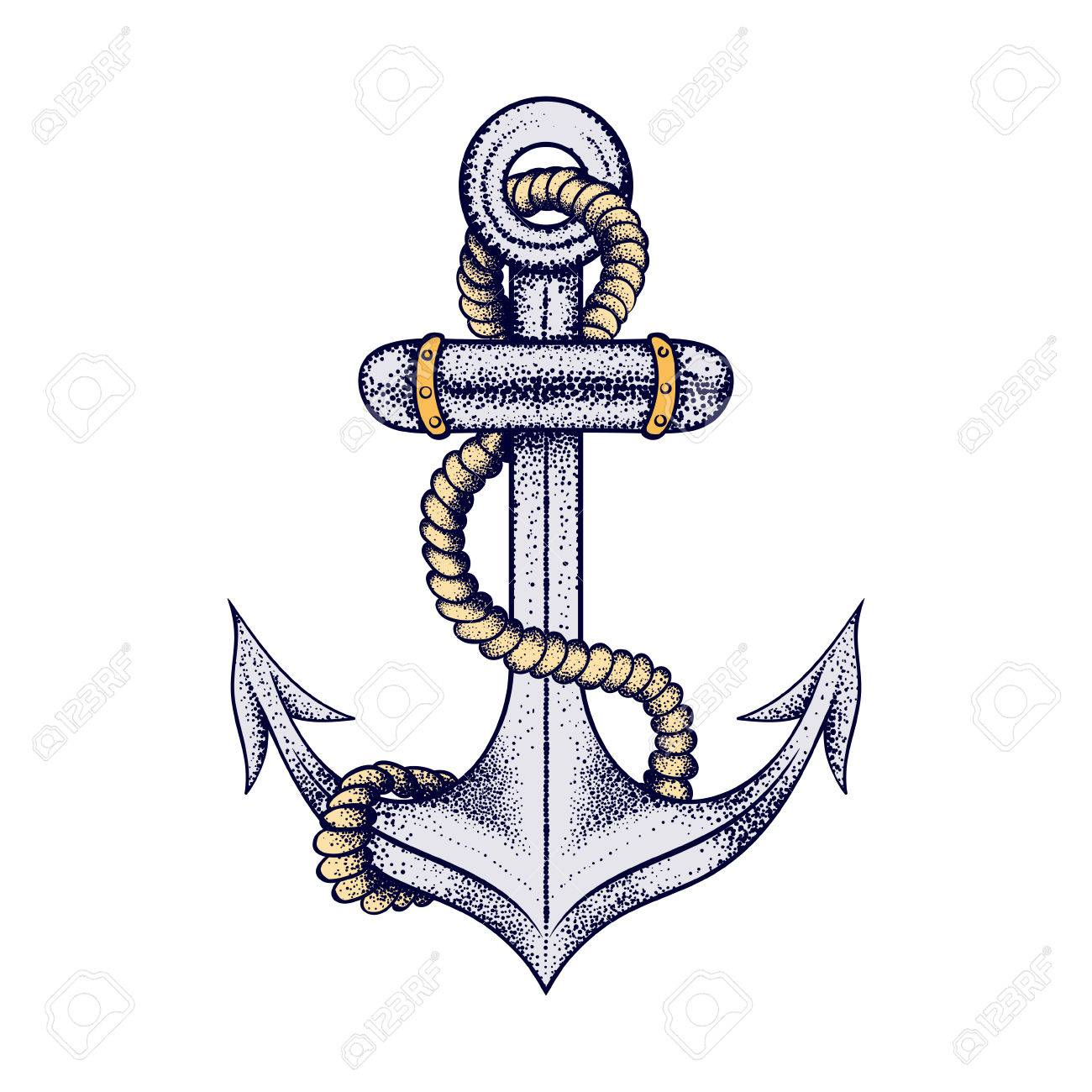 f49410e26 Hand drawn elegant ship sea anchor with rope, colored sketch for tattoos  design or t