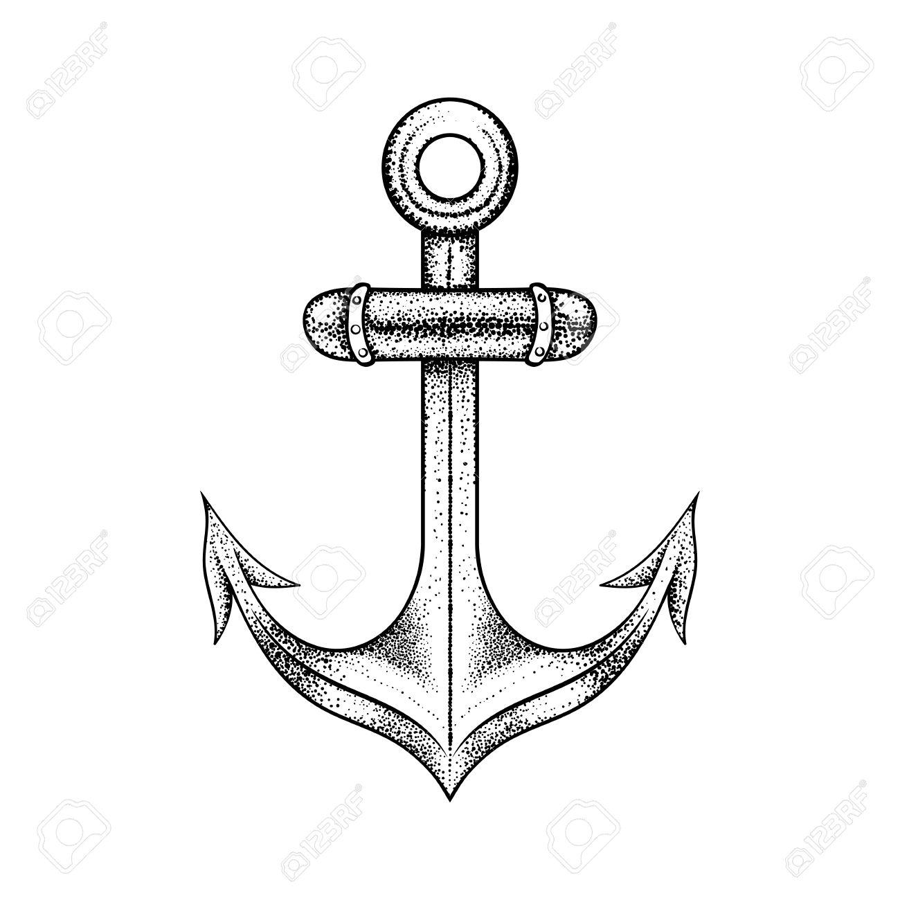 Mano Ancla Dibujada Elegante Del Mar Del Barco Dibujo Negro Para El