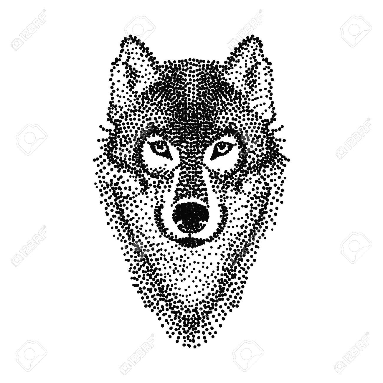 Diseño Del Tatuaje Estilizado Dotwork Cara Del Lobo Ilustración Del