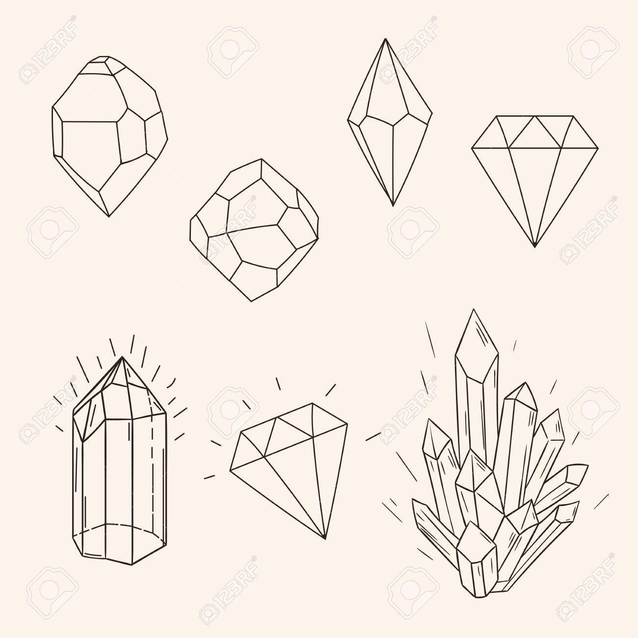Conjunto Drenado Mano De Cristal Boceto Diamante Y Figura Arte Del