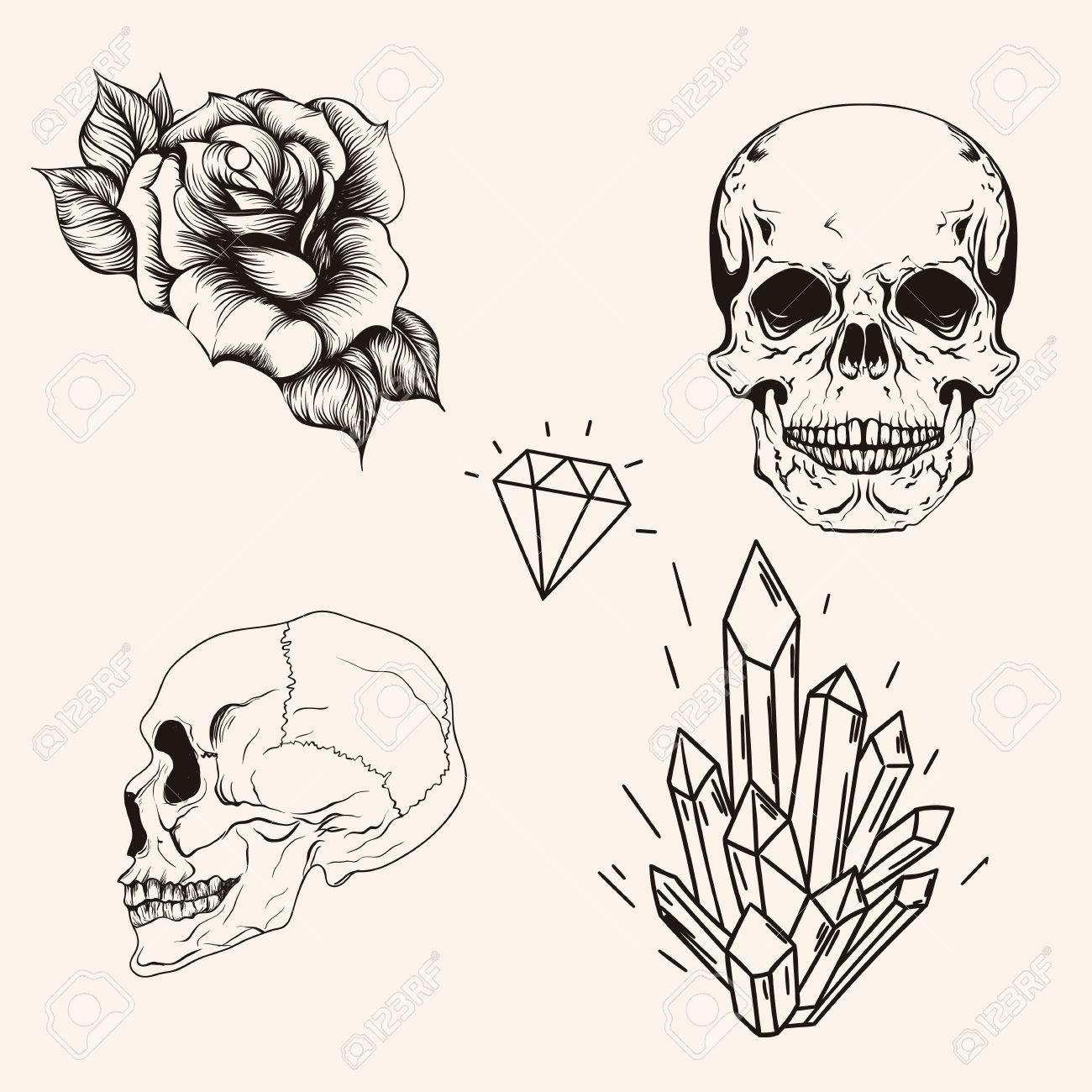 Dibujado A Mano Juego Scull Boceto Línea De Arte Del Tatuaje
