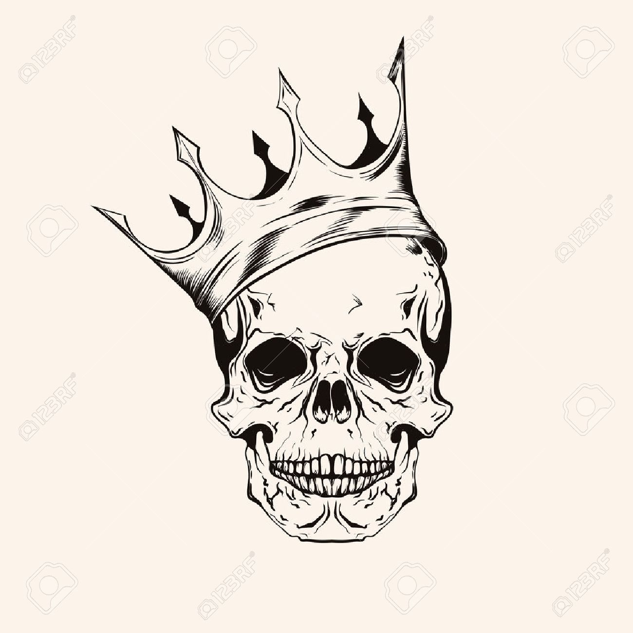 Hand Drawn Sketch Scull With Crown Tattoo Line Art Vintage Vector