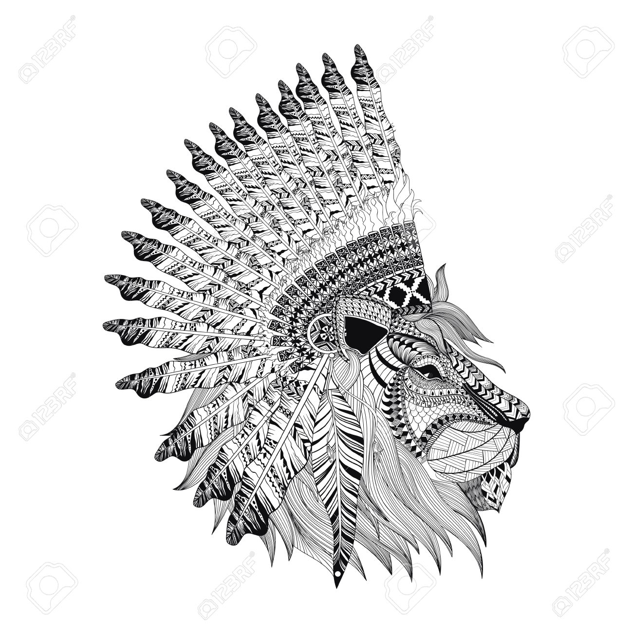 Lion Face With Feathered War Bannet In Zentangle Style High Detailed Headdress For Indian Chief