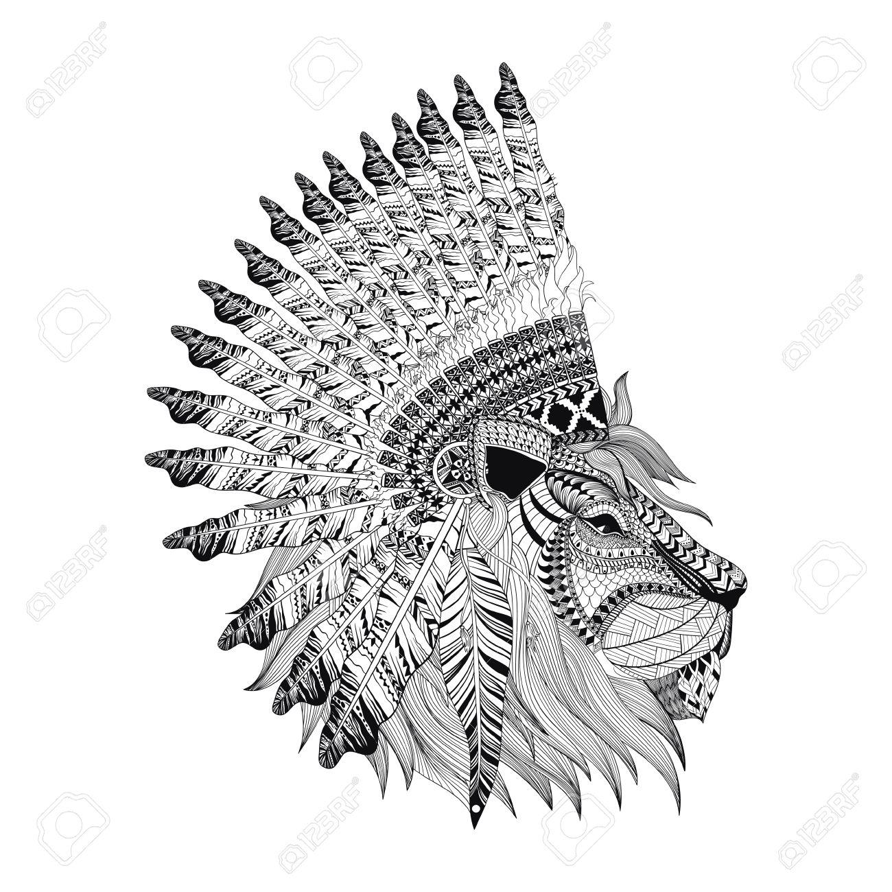 Lion Gesicht Mit Gefiederten Krieg Bannet In Zentangle Art, Hoch ...