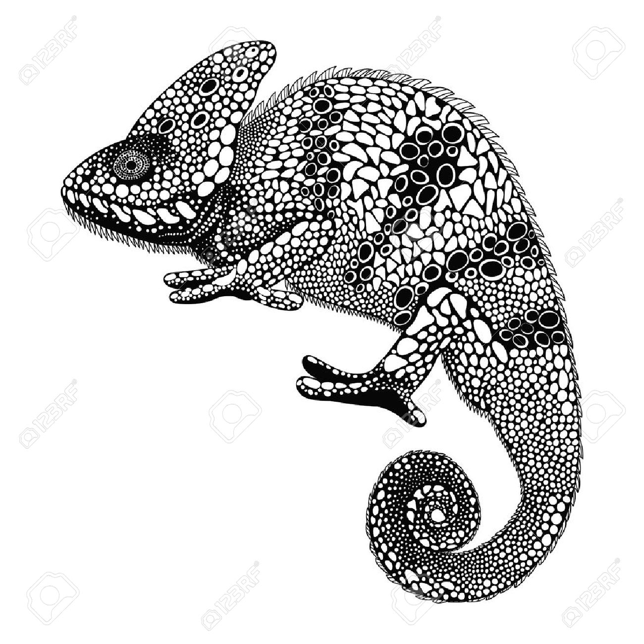 Zentangle Stylized Chameleon Hand Drawn Reptile Vector Illustration In Doodle Style Sketch For Tattoo