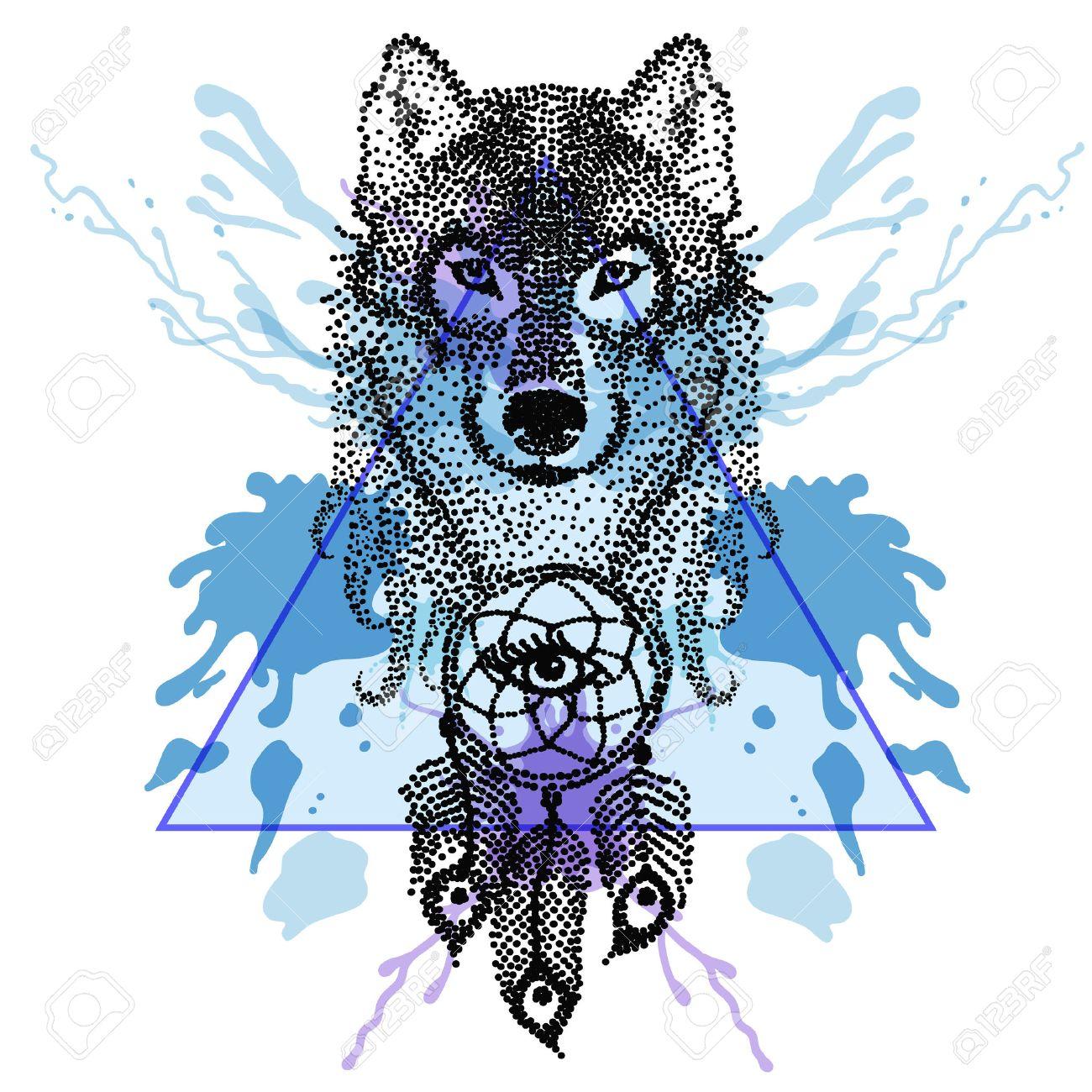 Dotwork Tatoo Stilisierte Wolf Gesicht Mit Traumfanger In Dreieck