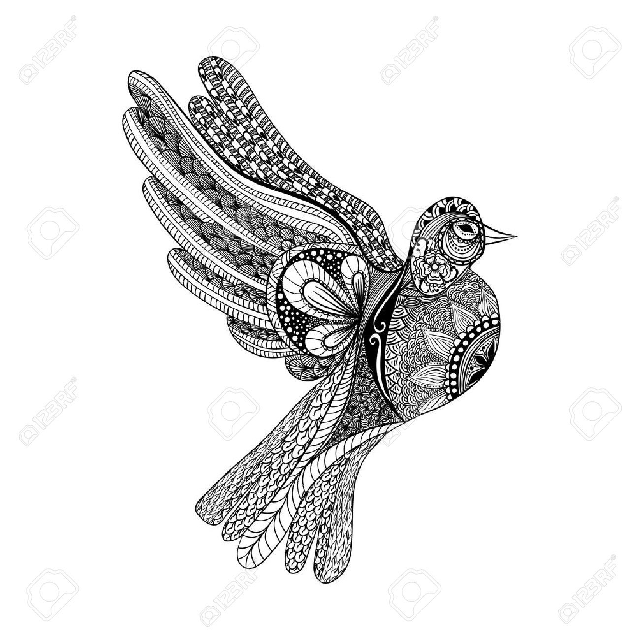 Zentangle Stylized Floral Pigeon For Peace Day Hand Drawn Dove Of Vector Illustration