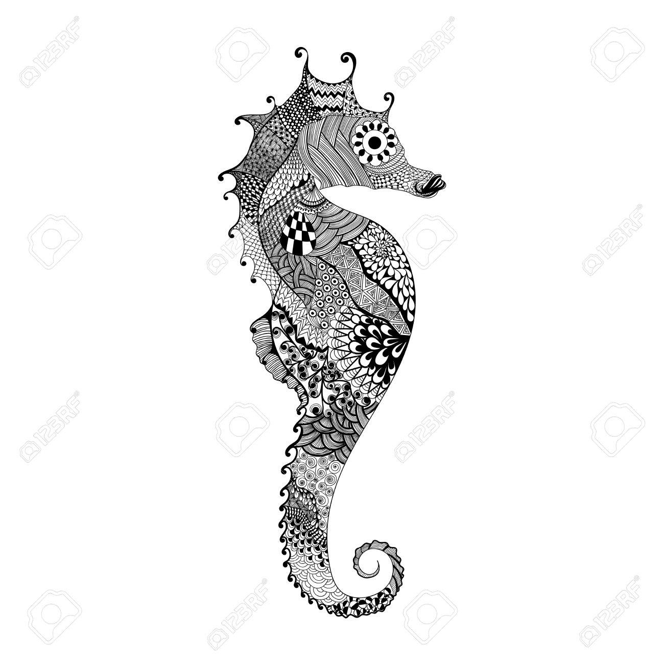 Zentangle Stylized Black Sea Horse Hand Drawn Vector Illustration Royalty Free Cliparts Vectors And Stock Illustration Image 51549856