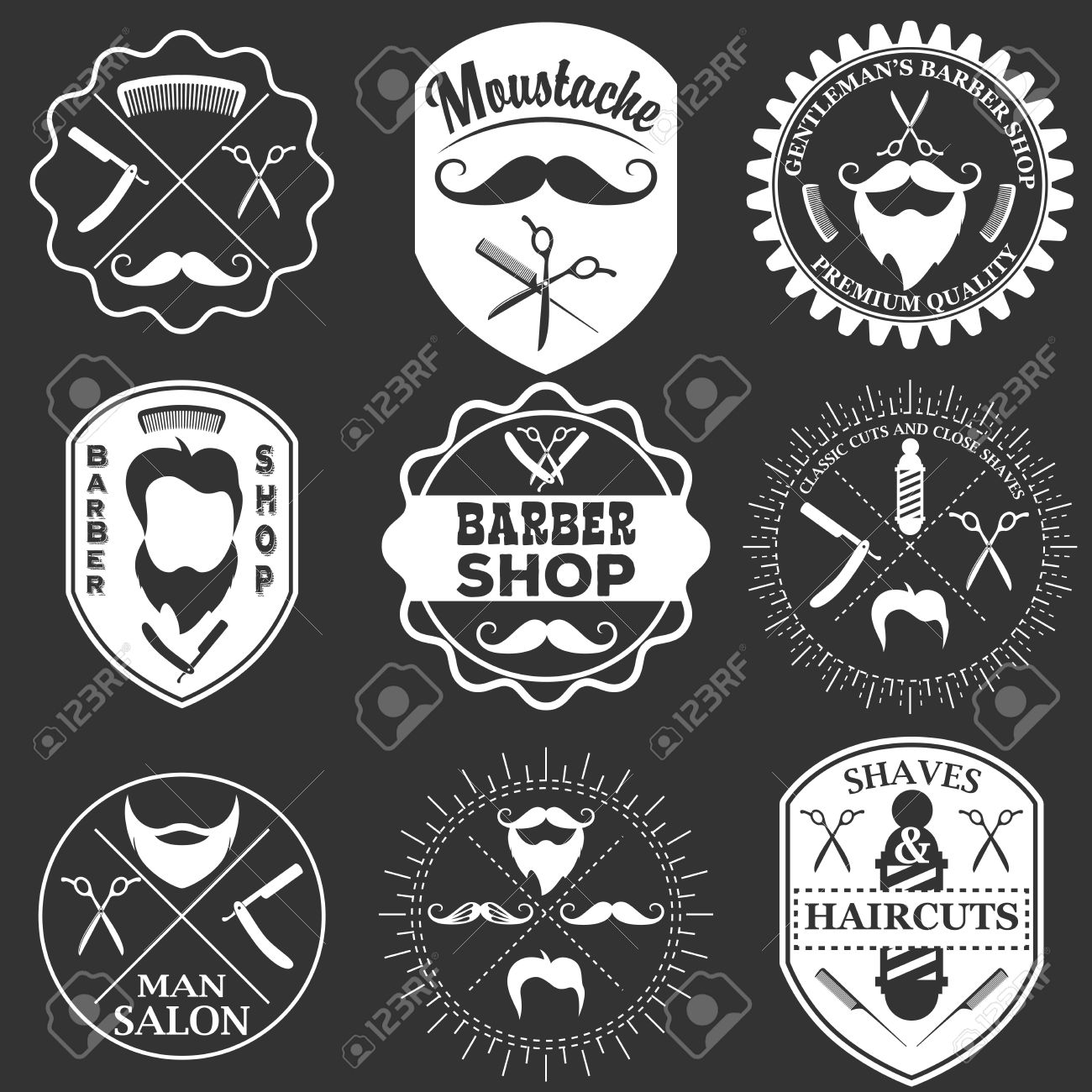 Set Of Vintage Barber Shop Logo Templates Labels And Badges Made In Vector Haircuts