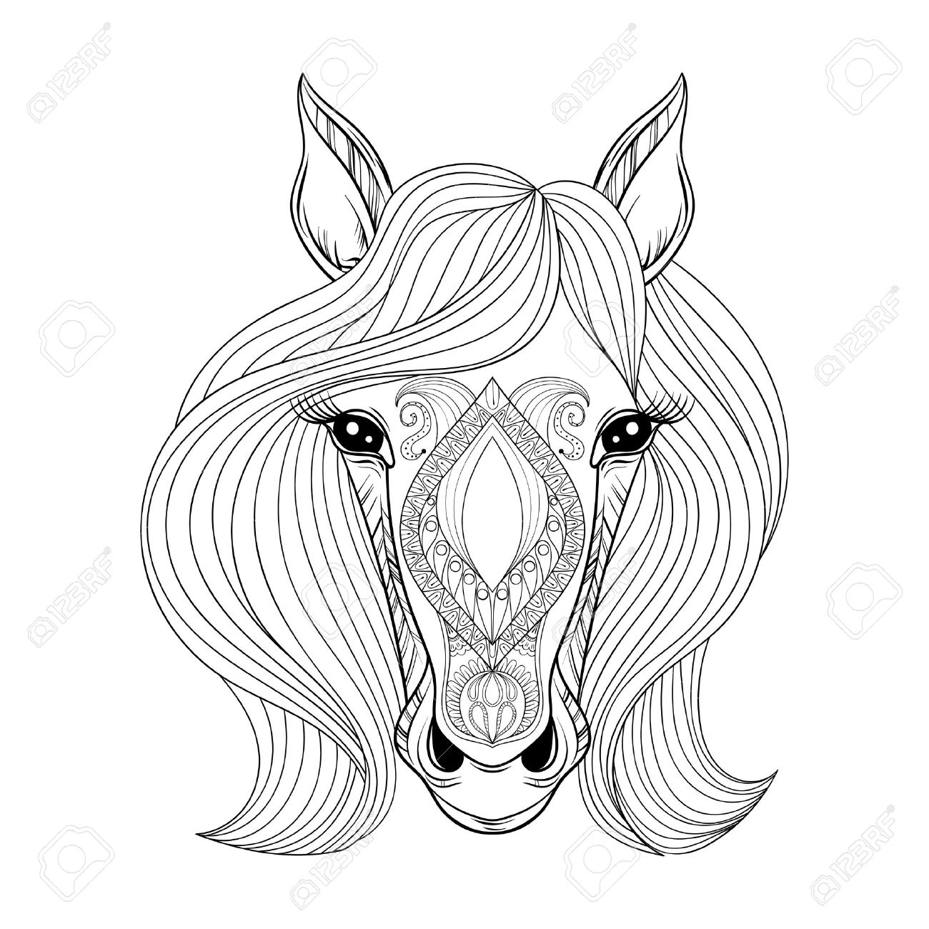 Vector Horse Coloring Page With Zentangled Horse Face Hand Drawn