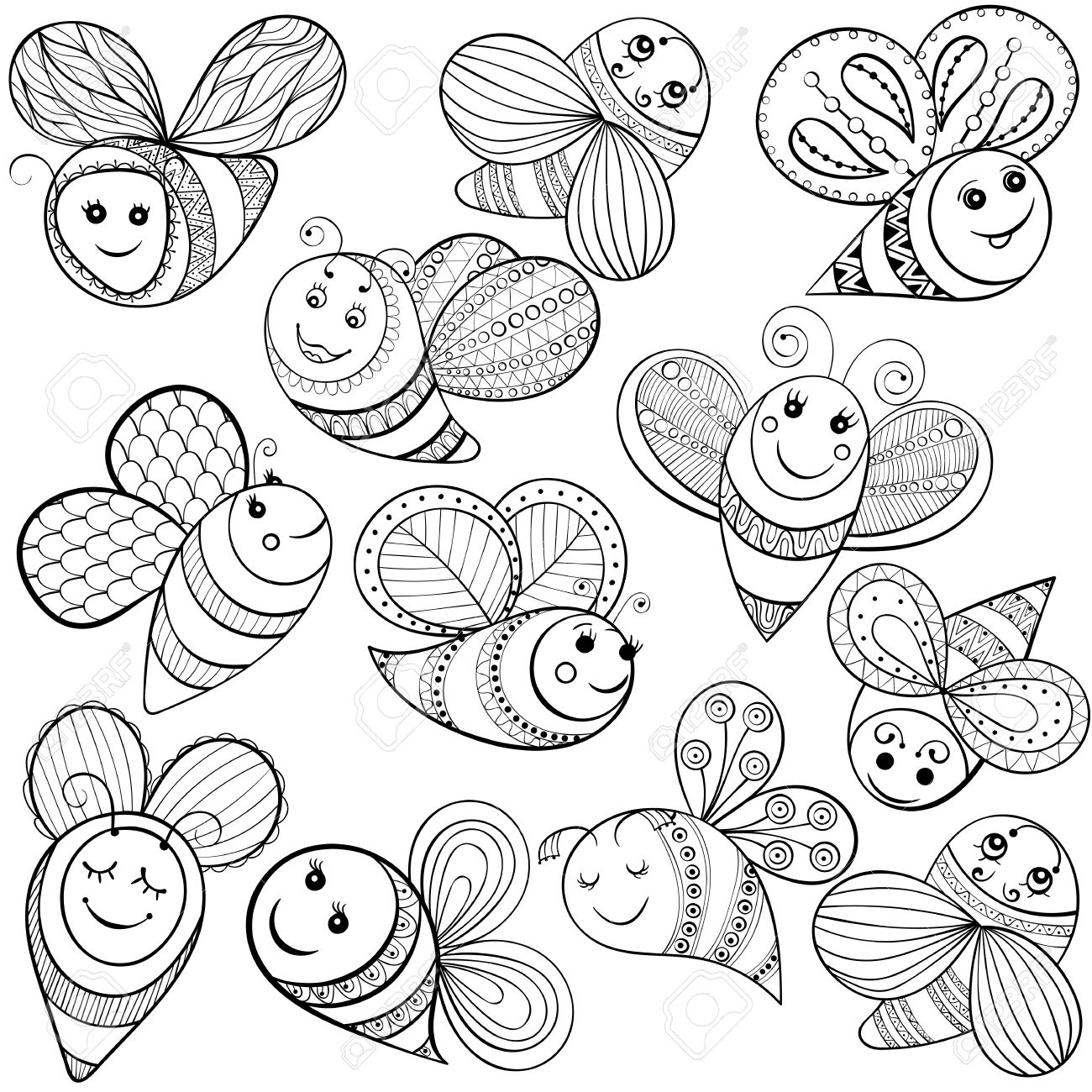vector bees for coloring page hand drawn funny magic bee