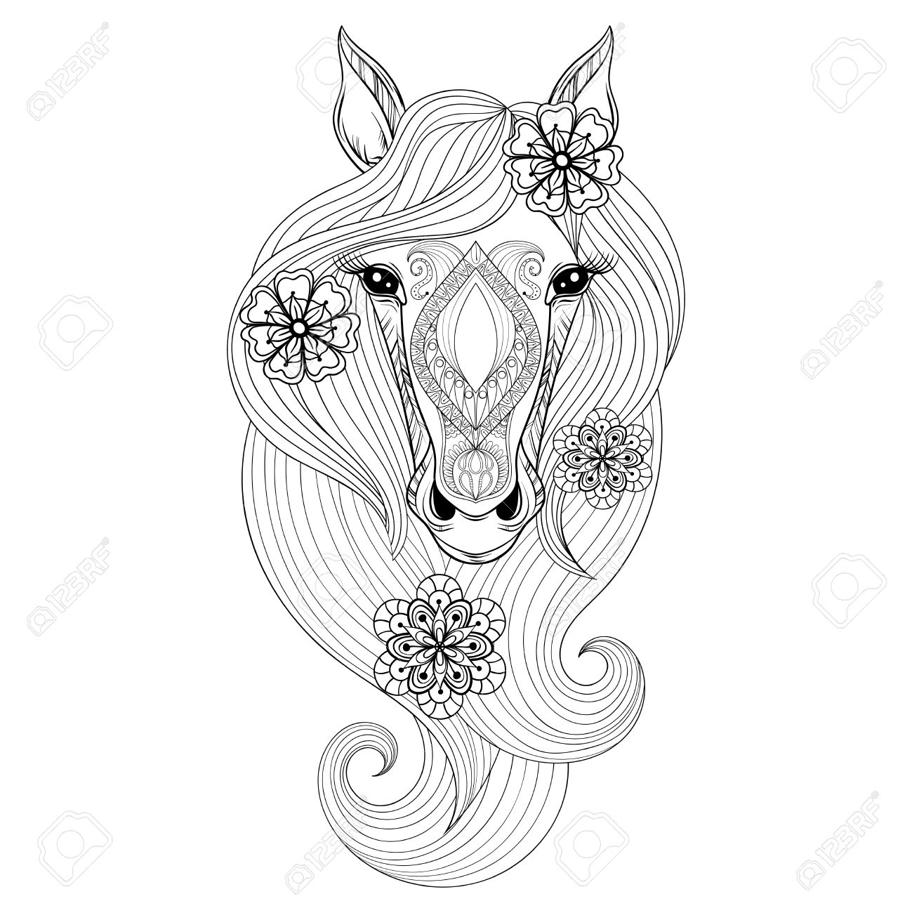 Vector Horse Coloring Page With Face Hand Drawn Patterned