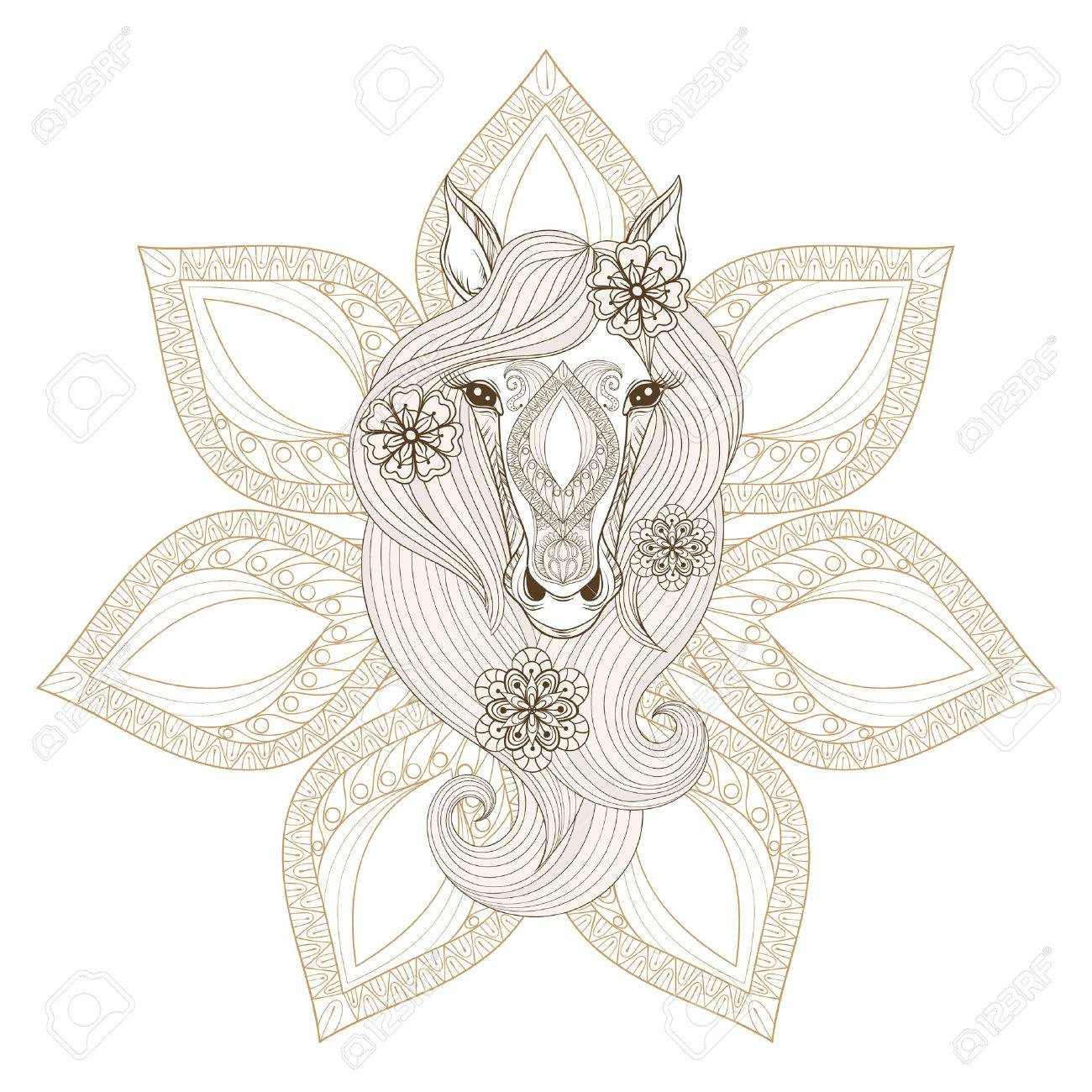 Vector Horse Coloring Page With Horse Face On Mandala Background