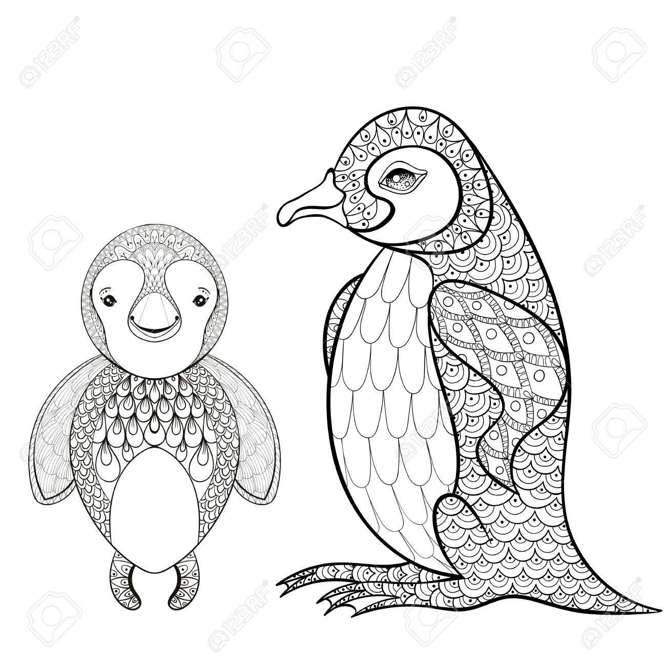 Pinguin Conjunto De Vectores Para Colorear Página Del Adulto ...