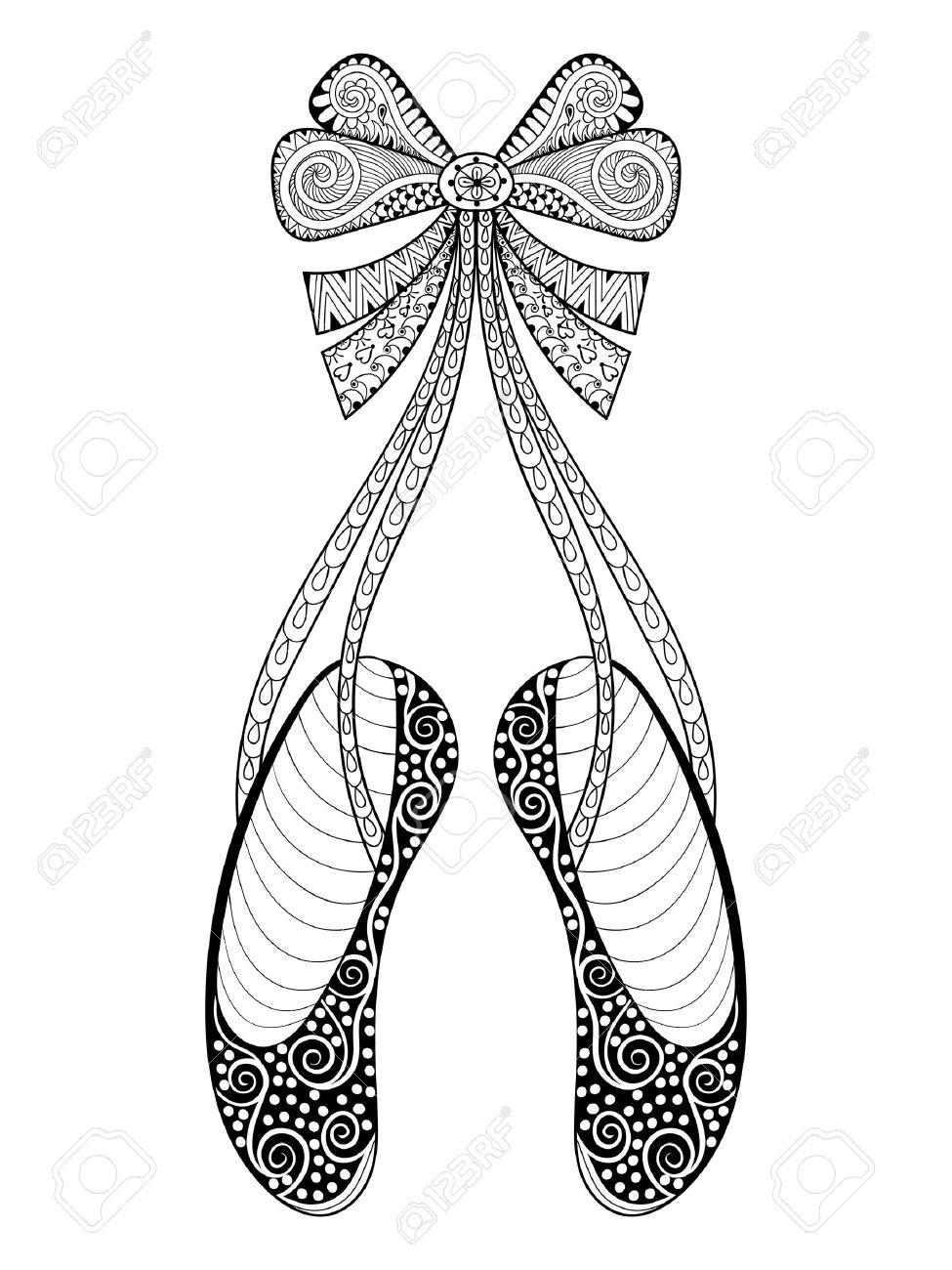 Vector De Los Zapatos De Baile De Ballet Zentangle Símbolo Ejemplo Modelado Dibujado A Mano Zapatillas De Punta Ornamentales Con Arco De La Cinta