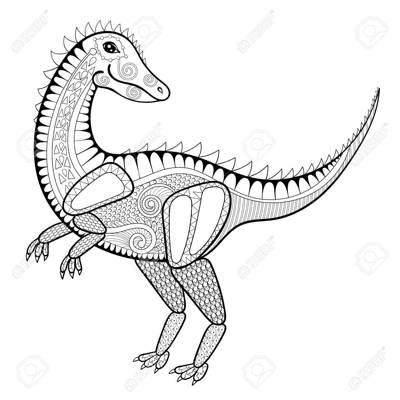 Vector La Ilustración Del Zentangle Dinosaurio, Tiranosaurio ...