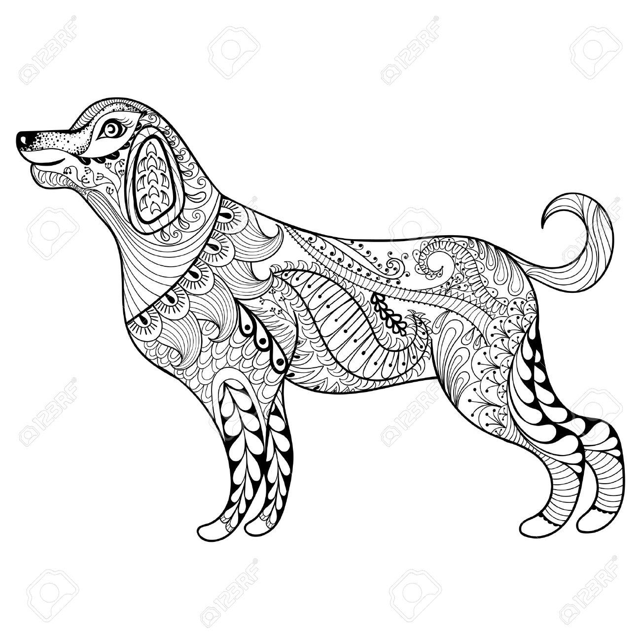ベクトル Zentangle 犬大人ぬりえページの印刷します手描き芸術民族
