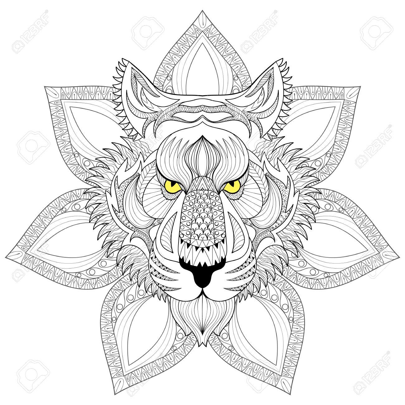 Vector Tiger Zentangle Tiger Visage Sur Mandala Illustration Tête De Tigre Imprimer Pour Coloriage Anti Stress Adulte Hand Drawn Artistiquement