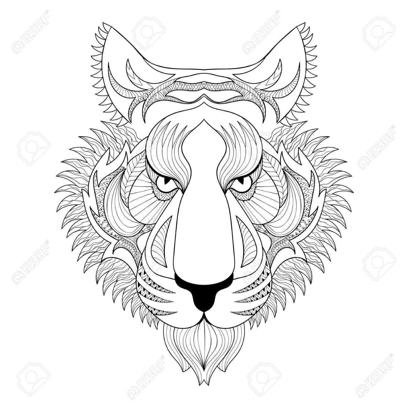 Coloriage Anti Stress Visage.Vector Tiger Visage Zentangle Tiger Illustration Tete De Tigre Impression Pour Coloriage Anti Stress Adulte Hand Drawn Artistiquement Ornement A