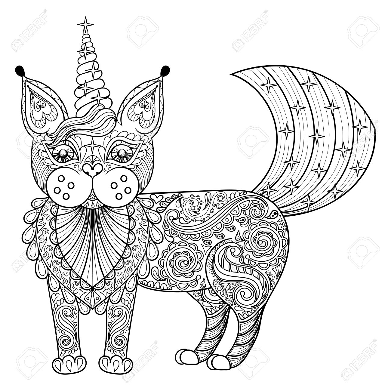 Zen cat coloring page - Vector Zentangle Magic Cat Unicorn Black Print For Adult Anti Stress Coloring Page Hand