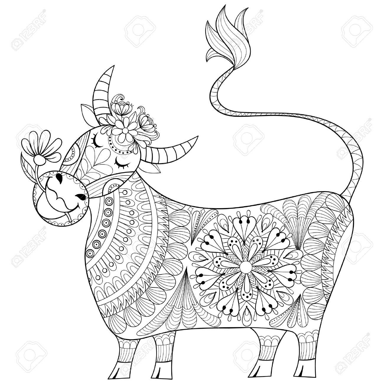 Página Para Colorear Con La Vaca, Zenart Estilizado Del Ejemplo Del ...