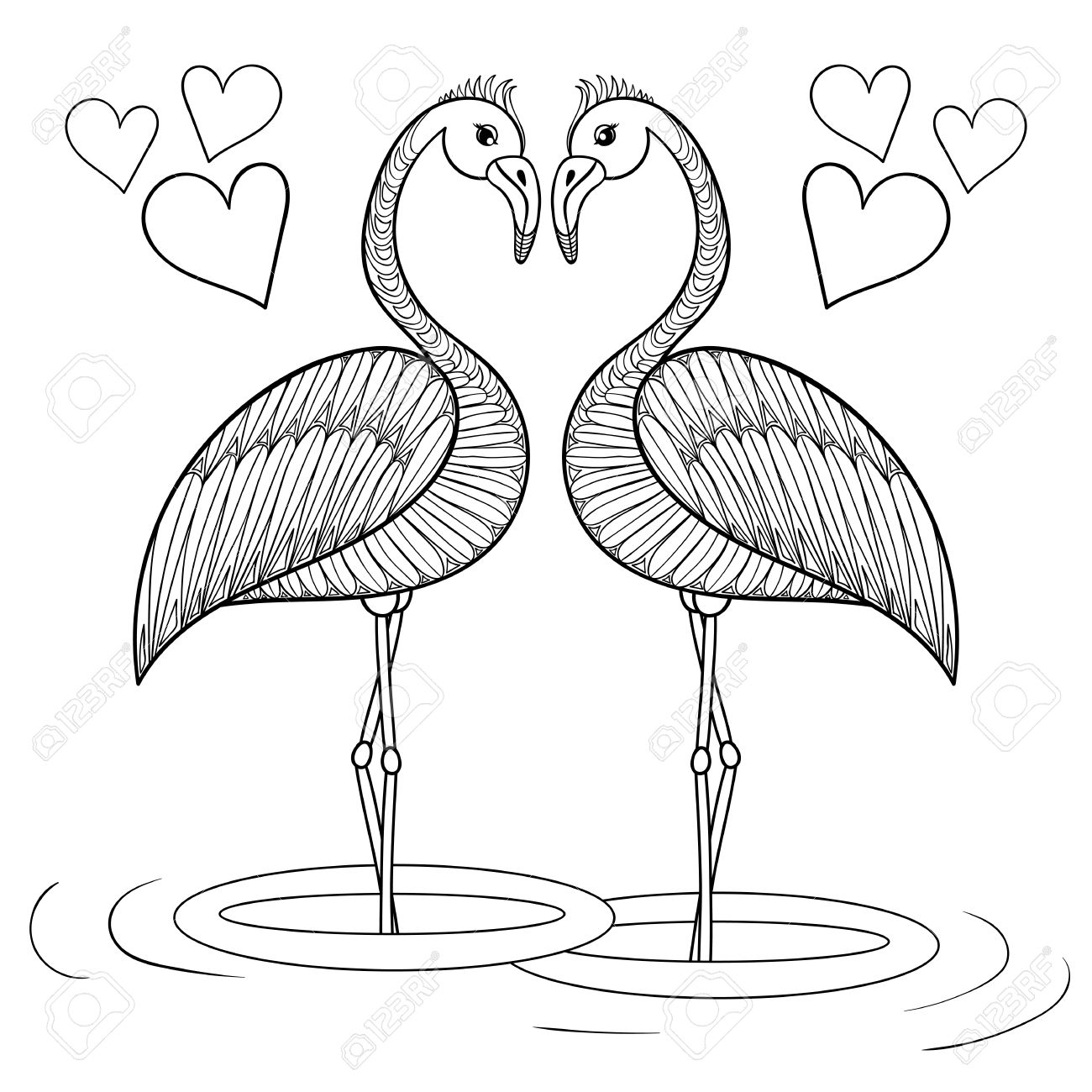 coloring page with flamingo birds in love zentangle hand drawing