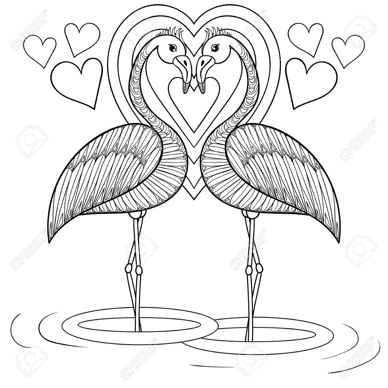 Página Para Colorear Con El Flamenco En El Amor, La Mano De Dibujo