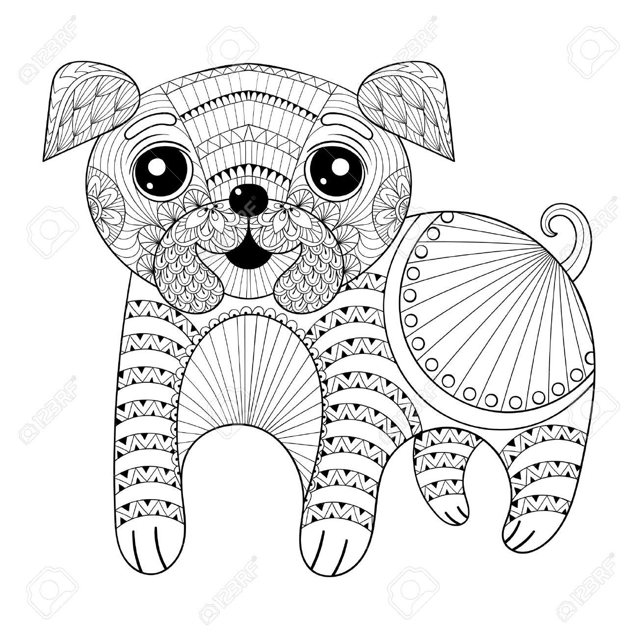 Zentangle Gráfico De La Mano Del Perro Para Colorear Antiestrés ...
