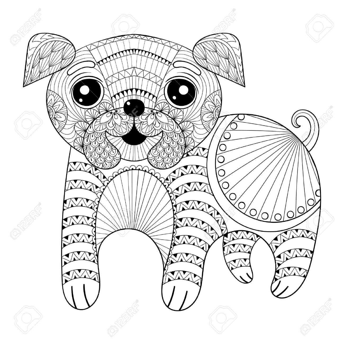 Zentangle Hand Drawing Dog For Antistress Coloring Pages, Post ...