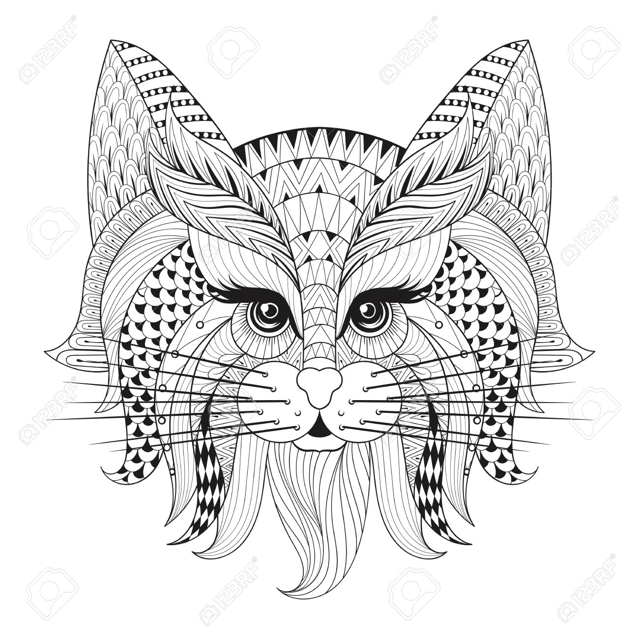 Good Vector   Zentangle Hand Drawn Cat Face For Adult Antistress Coloring Pages,  Post Card, T Shirt Print, Logo. Cat Illustration In Doodle Style, ...