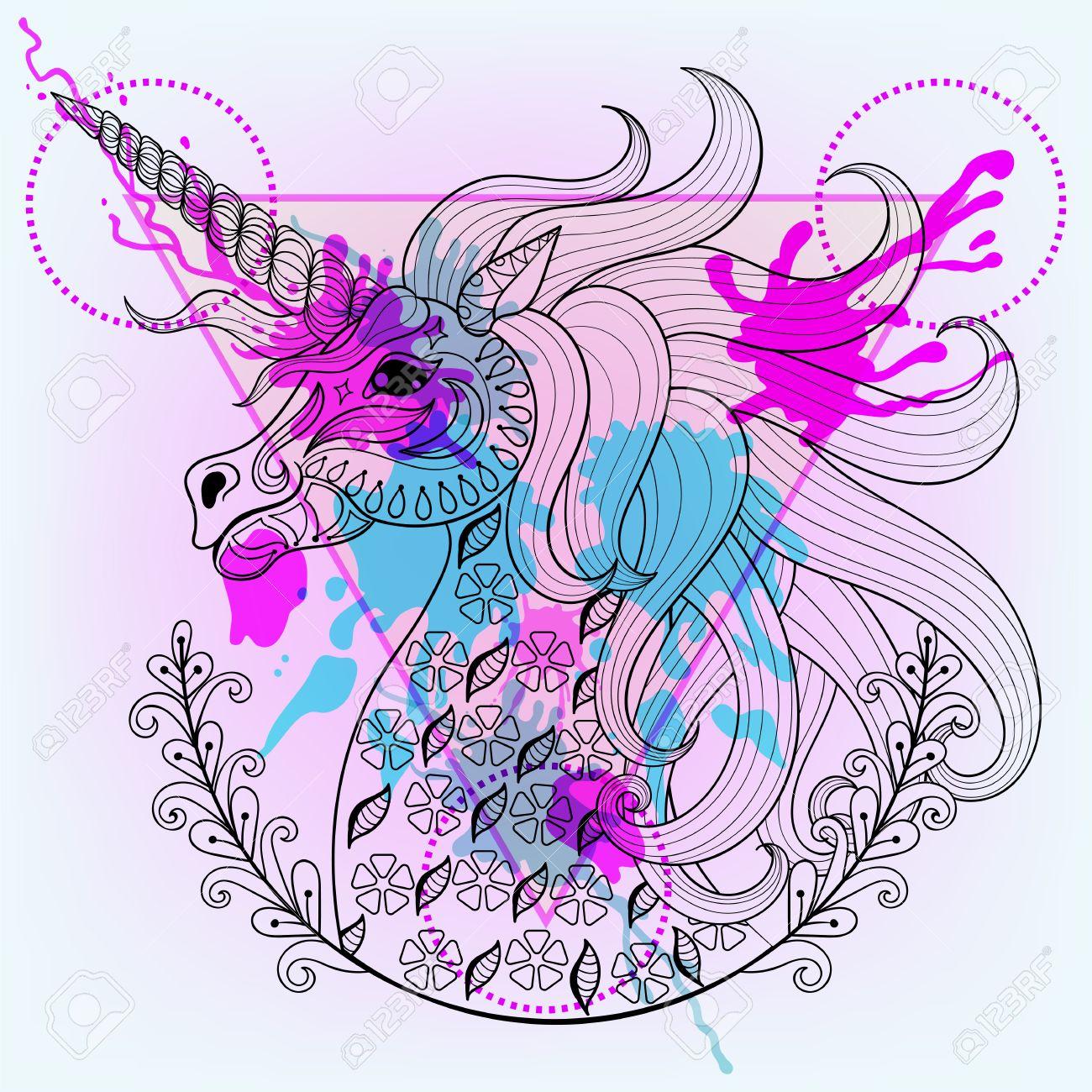 Vector Dibujado A Mano Unicornio Mágico Para Colorear Página Adulta En Estilo Del Tatuaje Del Zentangle Henna Modelado Del Unicornio Con La Gota