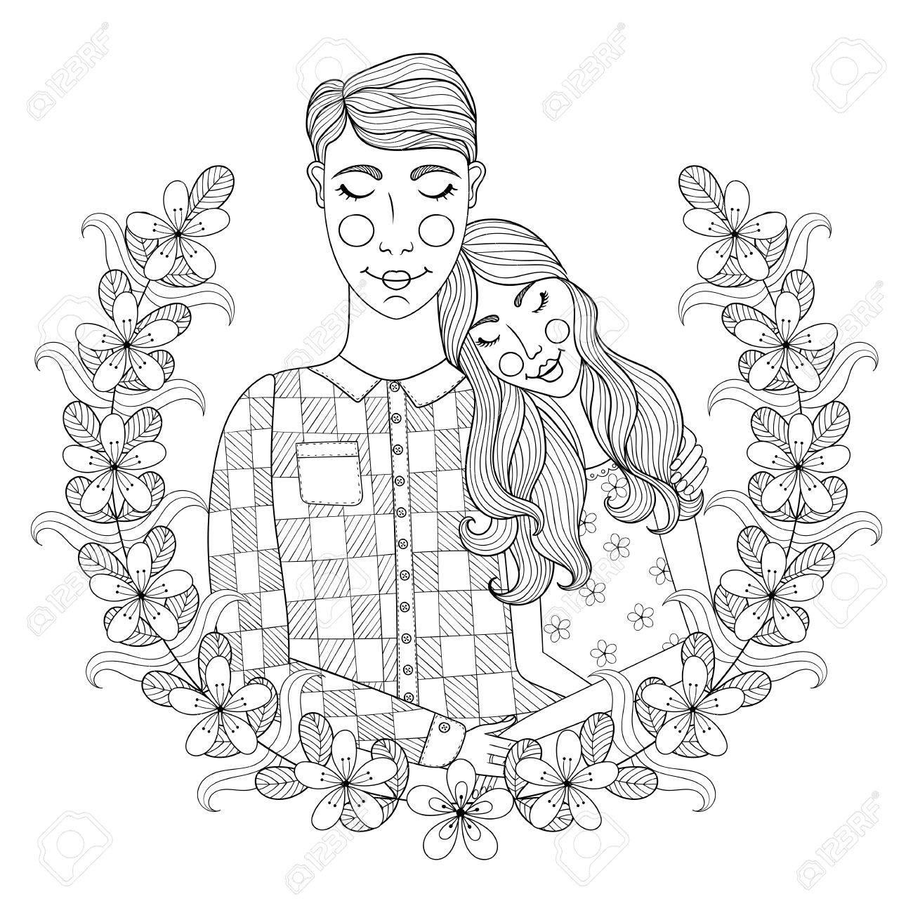 Zentangle Dibujado A Mano Encantador De Los Pares De Páginas Para ...