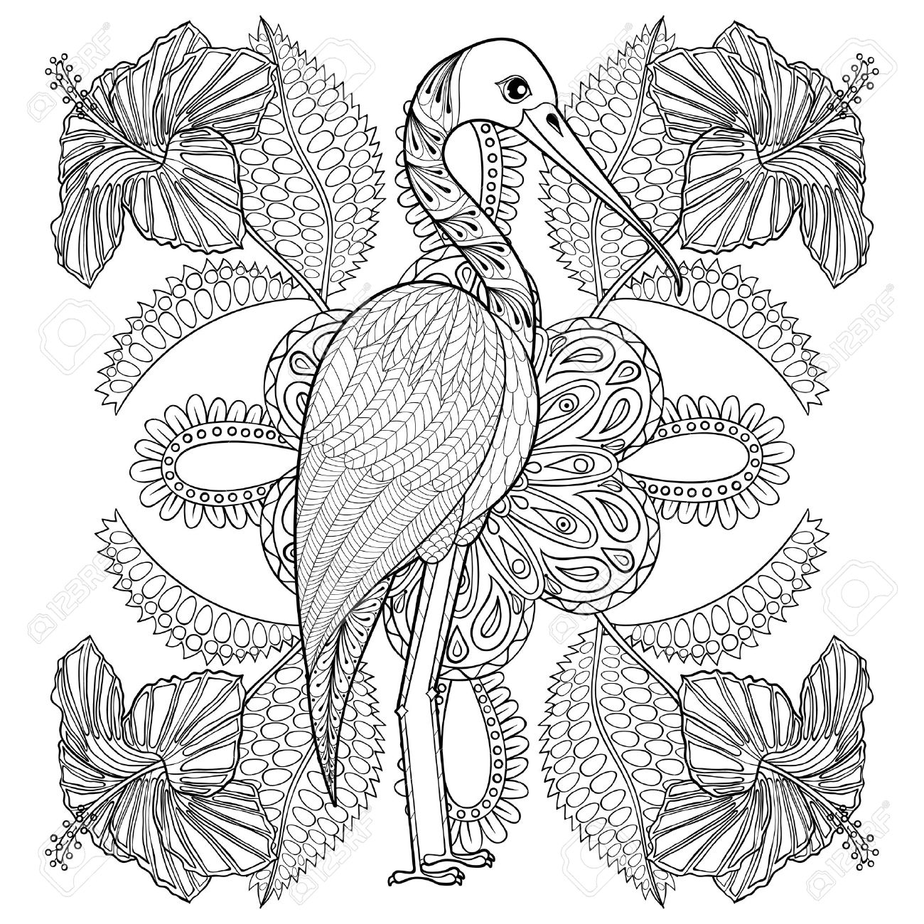 Coloring pages for adults zentangle - Zentangle Hand Drawn Stork In Hibiskus For Adult Antistress Coloring Pages Post Card T