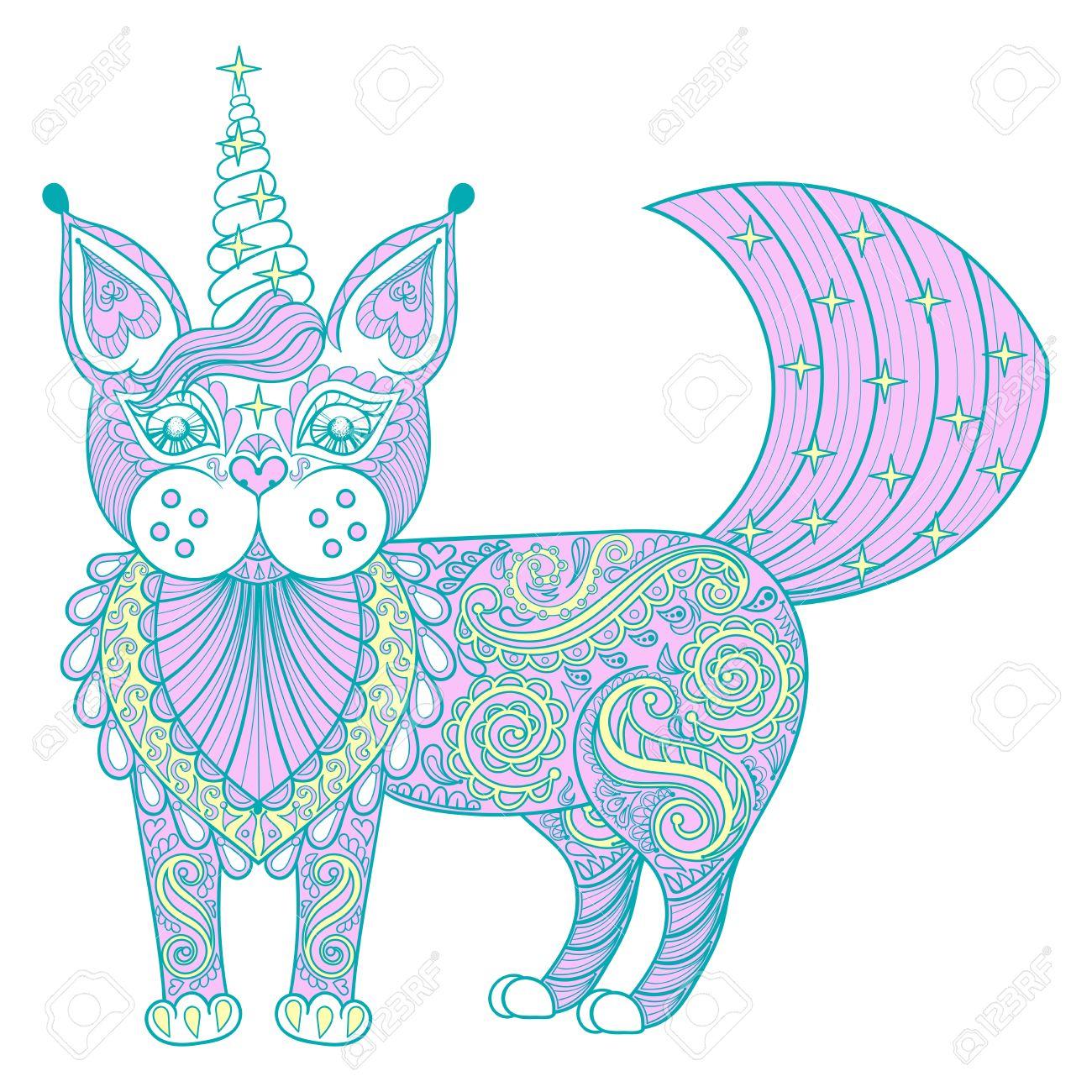 Vector De Impresión Zentangle Color Mágico Unicornio Gato, Negro ...