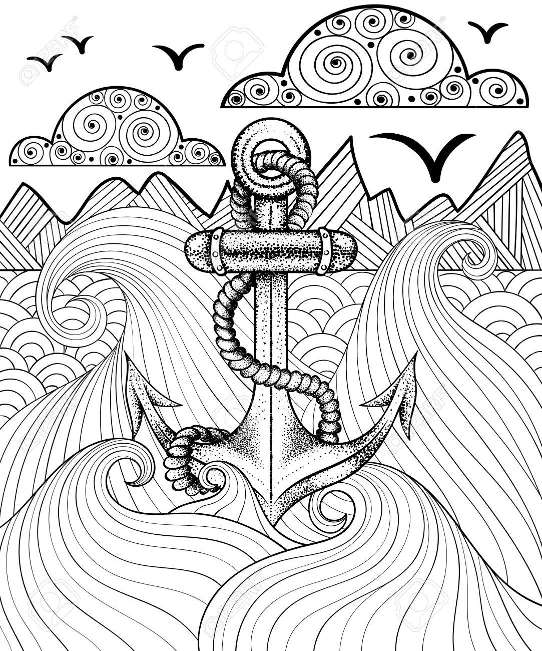 banque dimages vector zentangle imprimer pour coloriage adulte hand drawn ancrage artistique ethnique de la mer motif ornemental